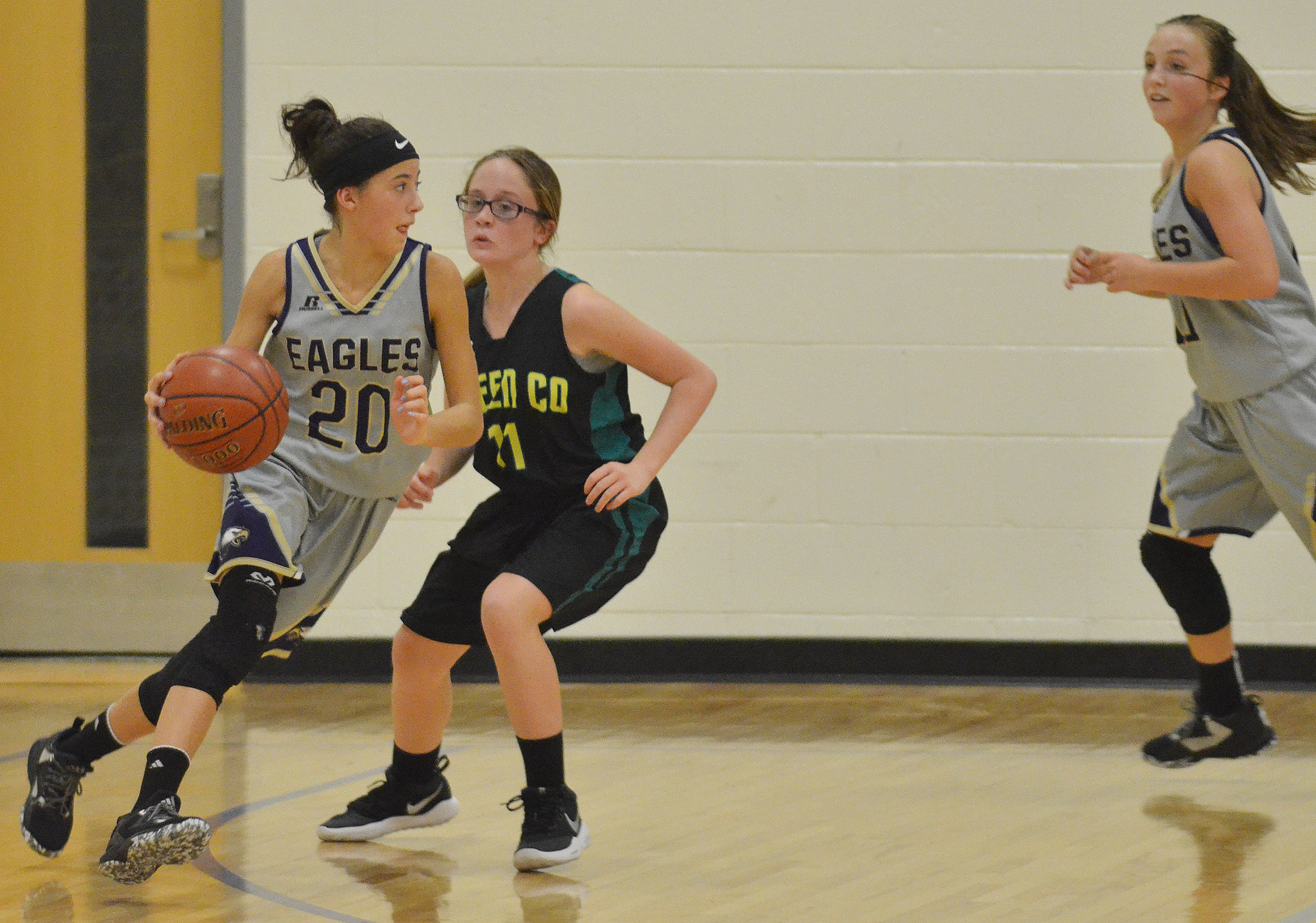CMS eighth-grader Kaylyn Smith drives the ball.