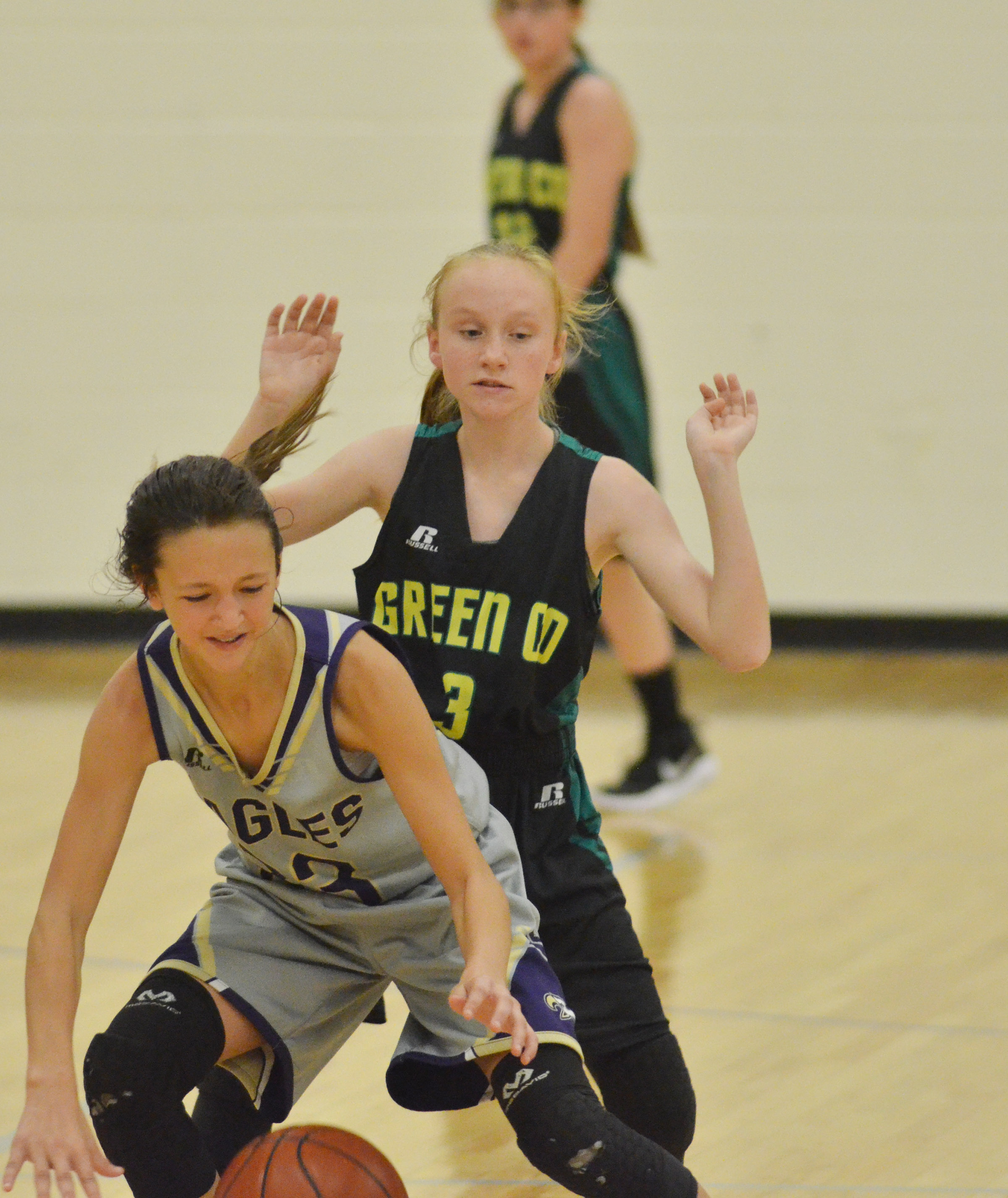 CMS seventh-grader Bri Hayes battles for the ball.