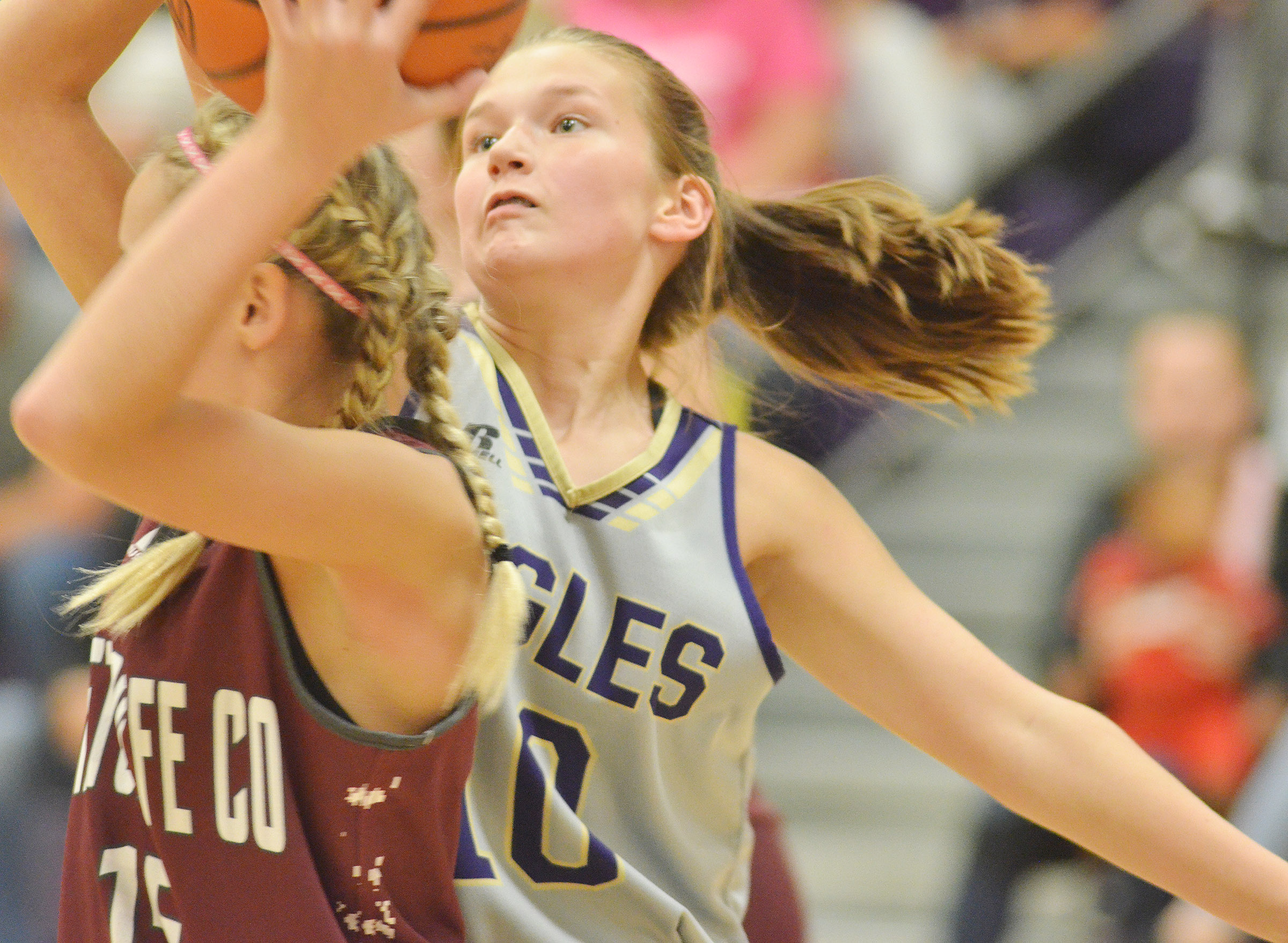 CMS seventh-grader BreAnna Humphress fights for the ball.