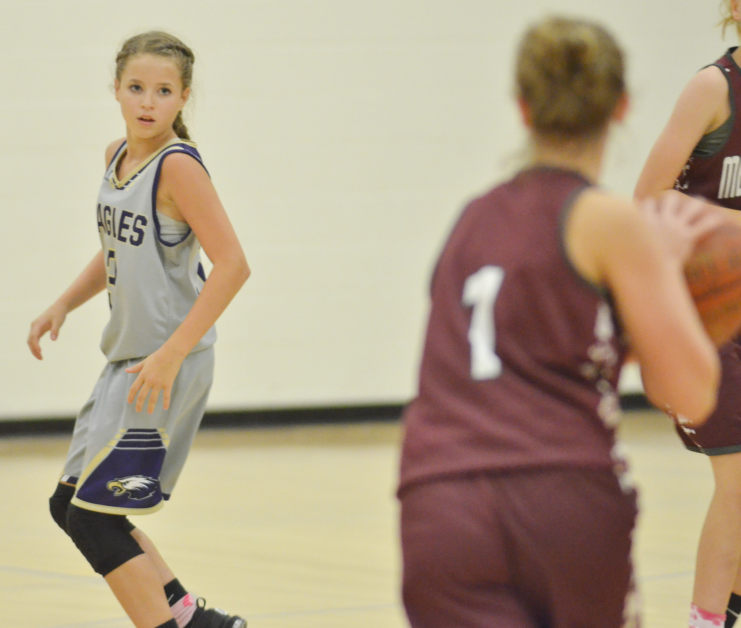 CMS eighth-grader Rylee Petett watches the ball.