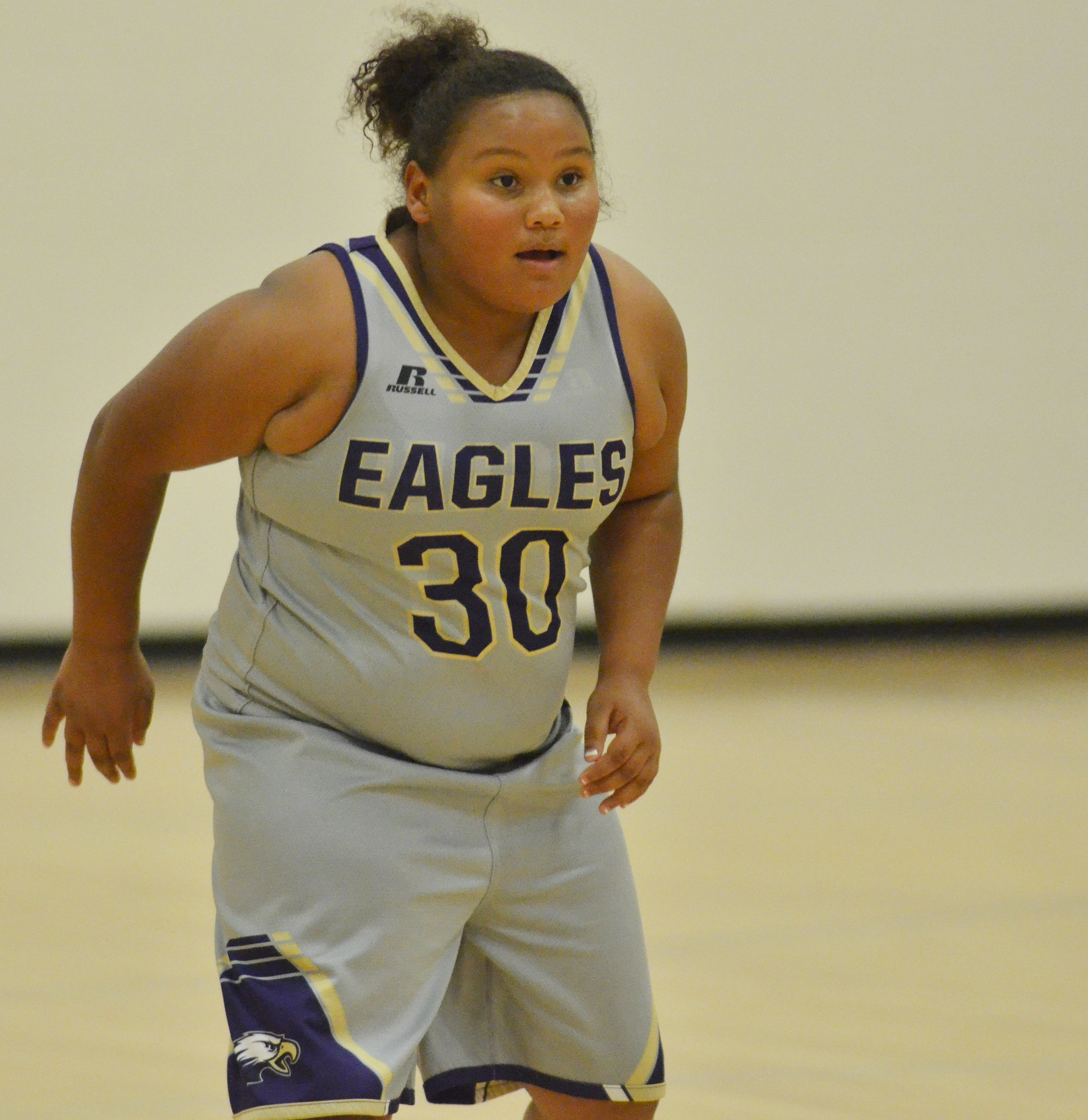Campbellsville Elementary School fifth-grader Dezarae Washington plays defense.