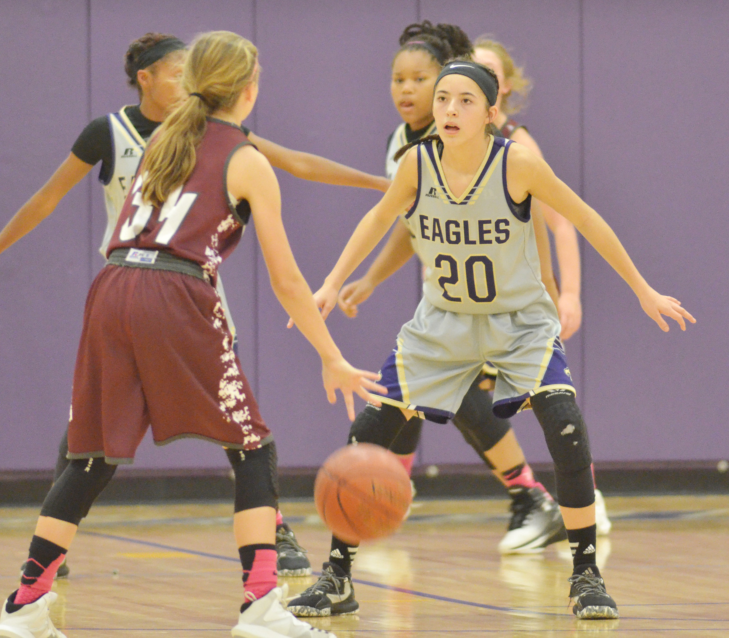 CMS eighth-grader Kaylyn Smith watches the ball.