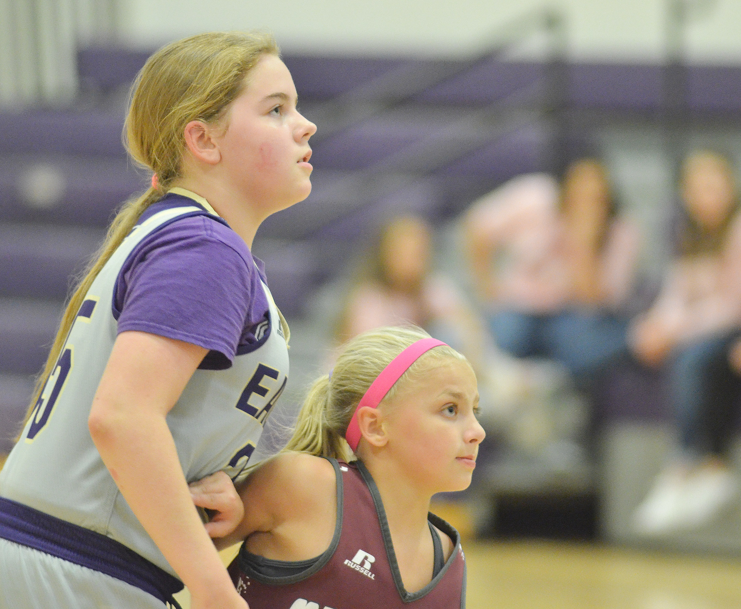 CMS sixth-grader Layla Steen watches the ball.