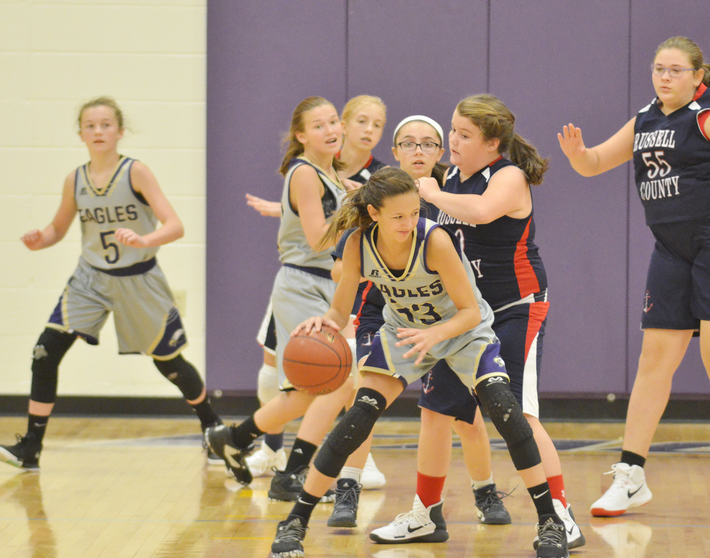 CMS seventh-grader Bri Hayes dribbles to the basket.