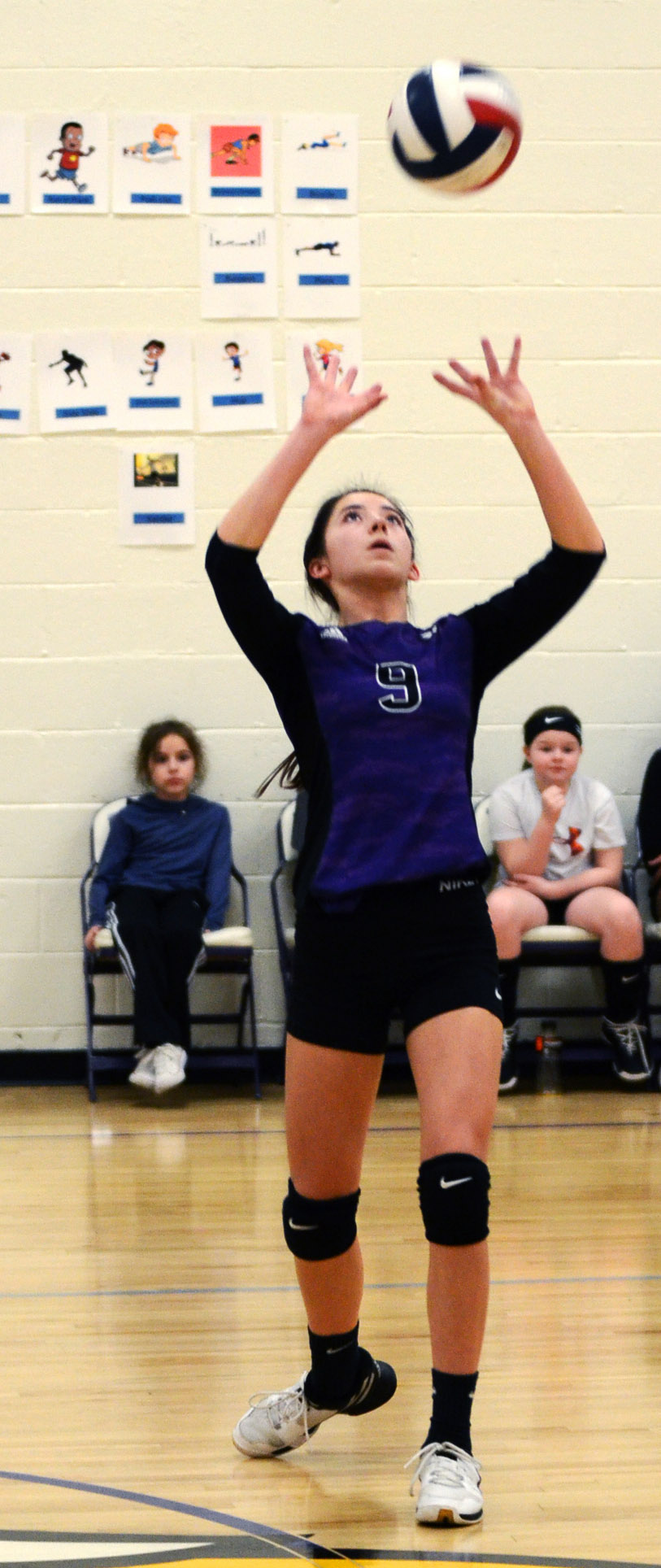 CMS eighth-grader Kaylyn Smith hits the ball.