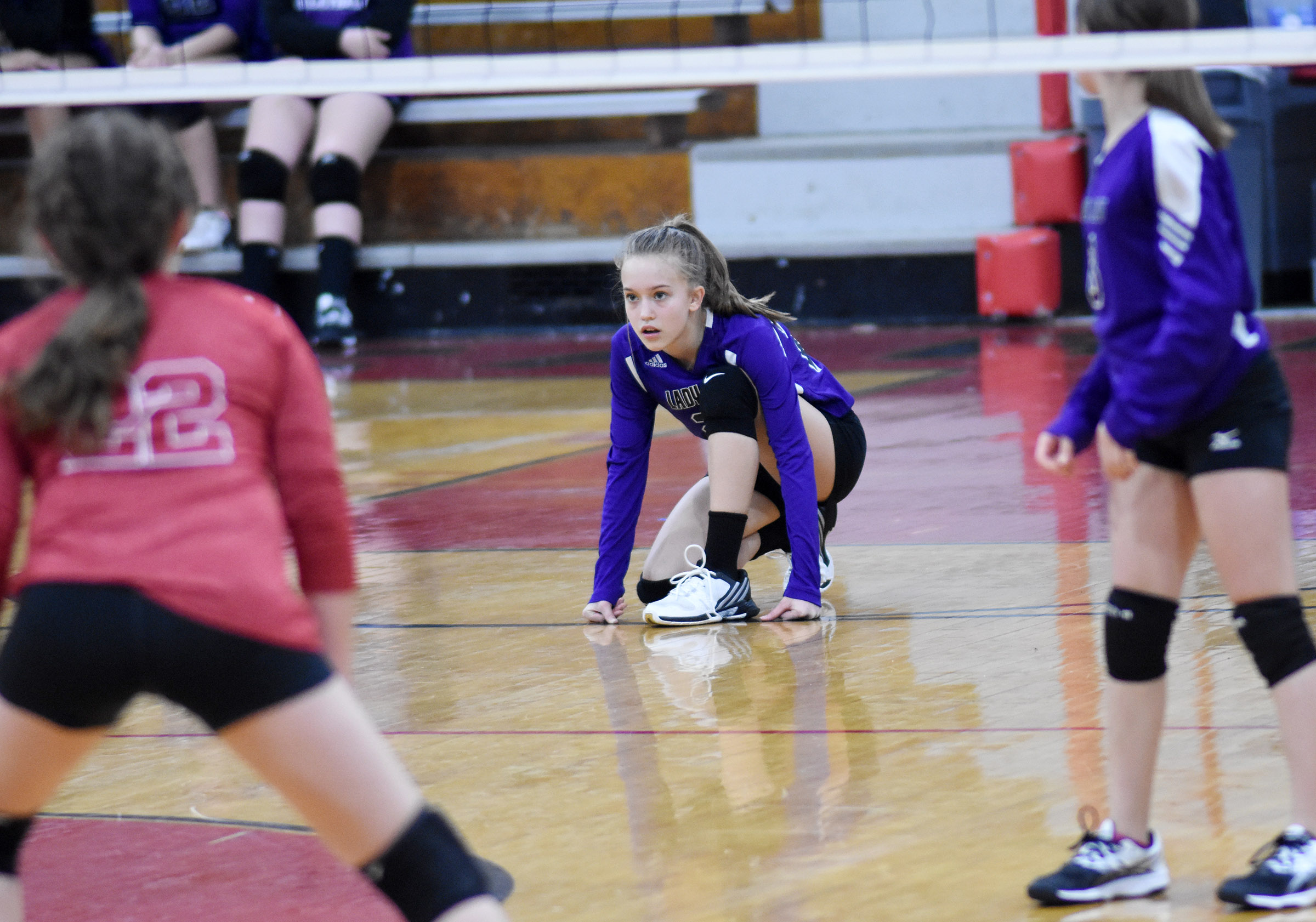 CMS sixth-grader Chloe Thompson watches the ball.
