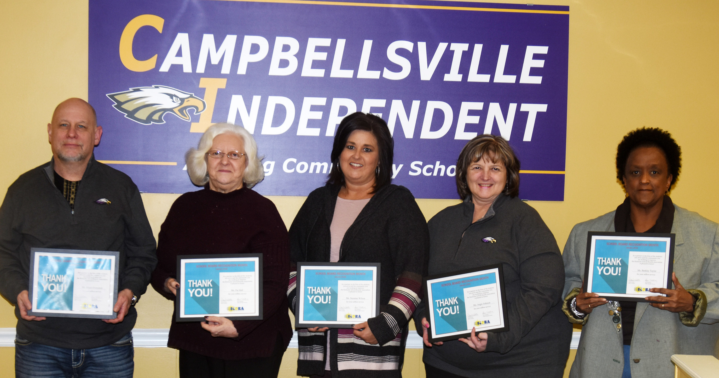 In honor of the month of January being recognized as School Board Recognition Month, Campbellsville Board of Education members were honored at their regular meeting on Monday, Jan. 8, for their dedication and service to Campbellsville Independent Schools. From left are Mitch Overstreet, Board Chair Pat Hall, Board Vice Chair Suzanne Wilson and Angie Johnson and Barkley Taylor.