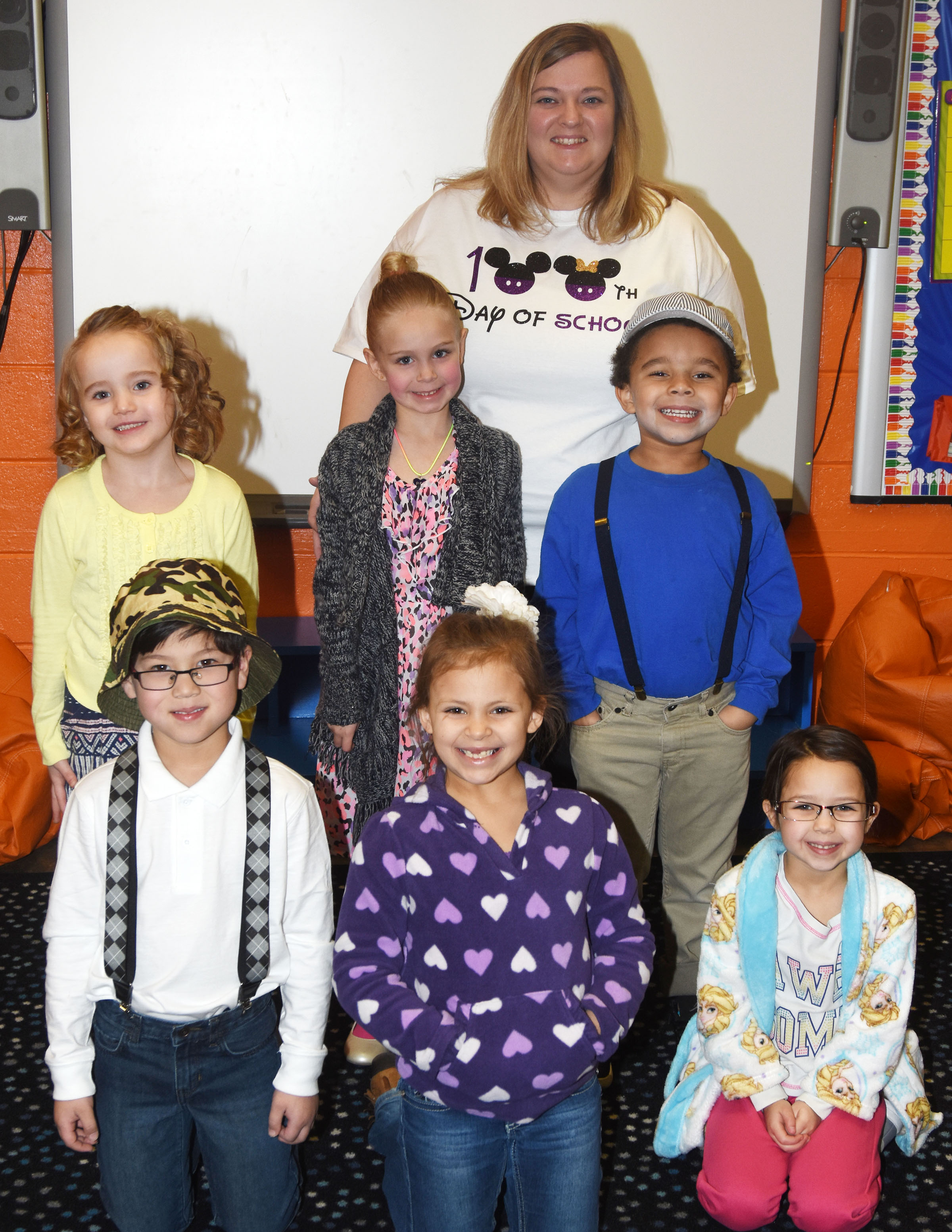 CES students and teachers dress as if they are 100 years old, in celebration of the 100th day of school on Friday, Feb. 2.