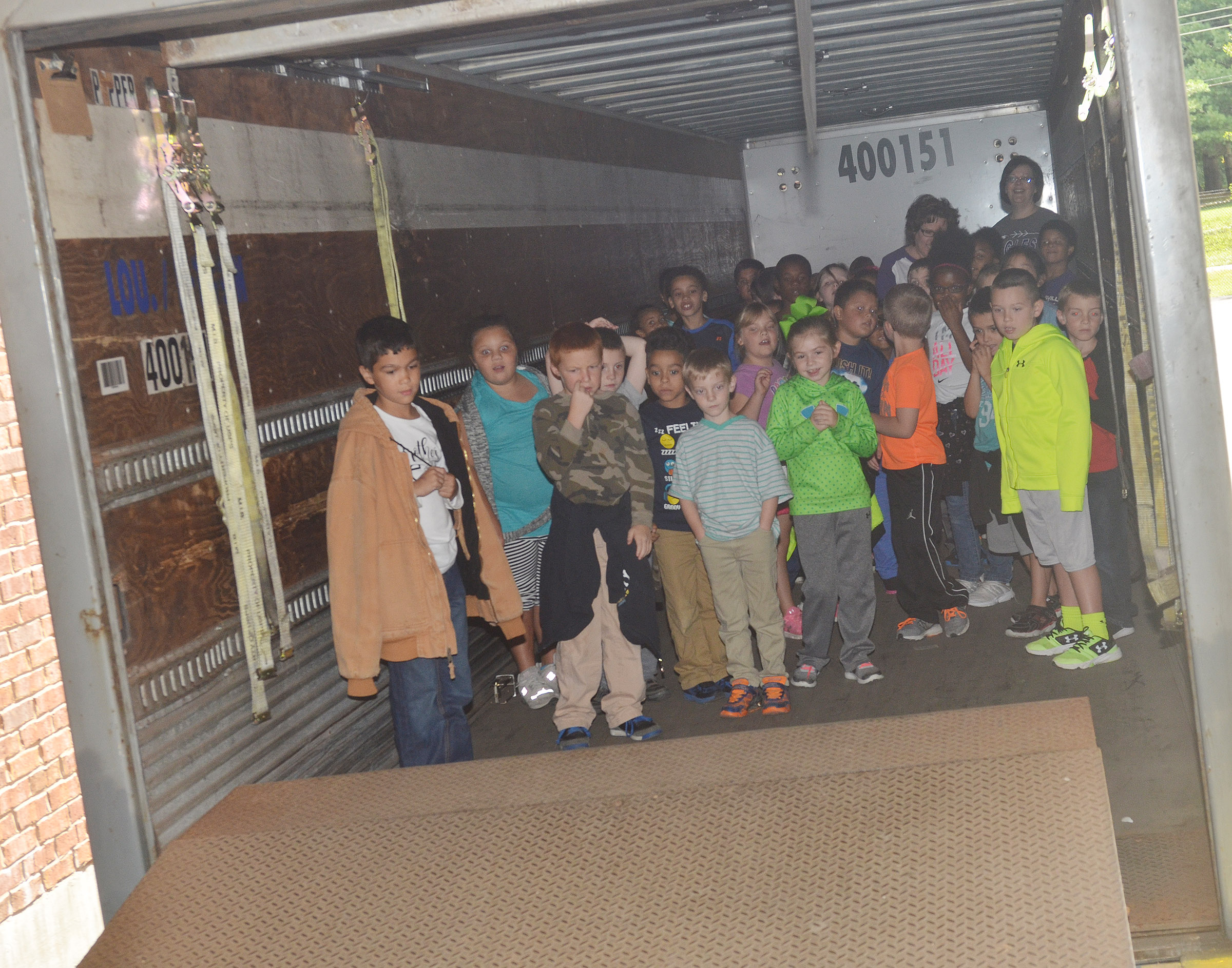 CES second-graders are temporarily closed in a mail truck.