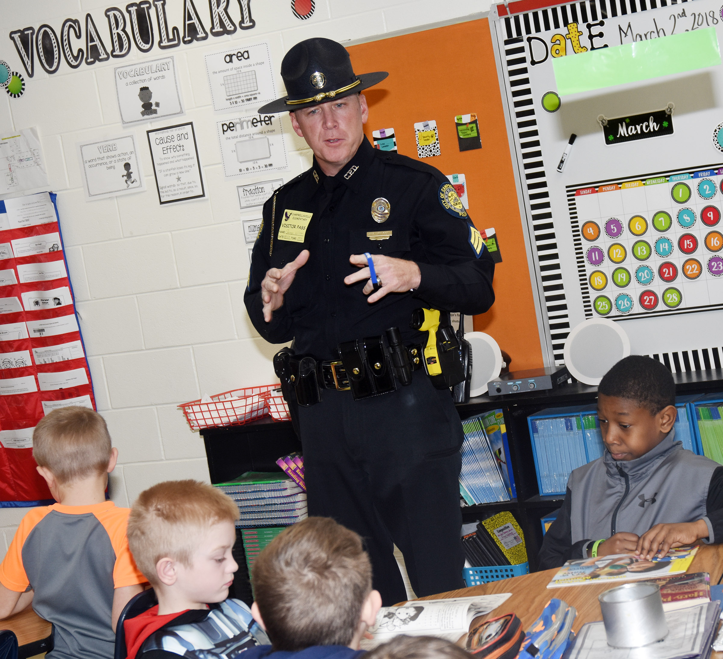 Shannon Wilson from Campbellsville Police Department talks to CES third-graders about leadership.