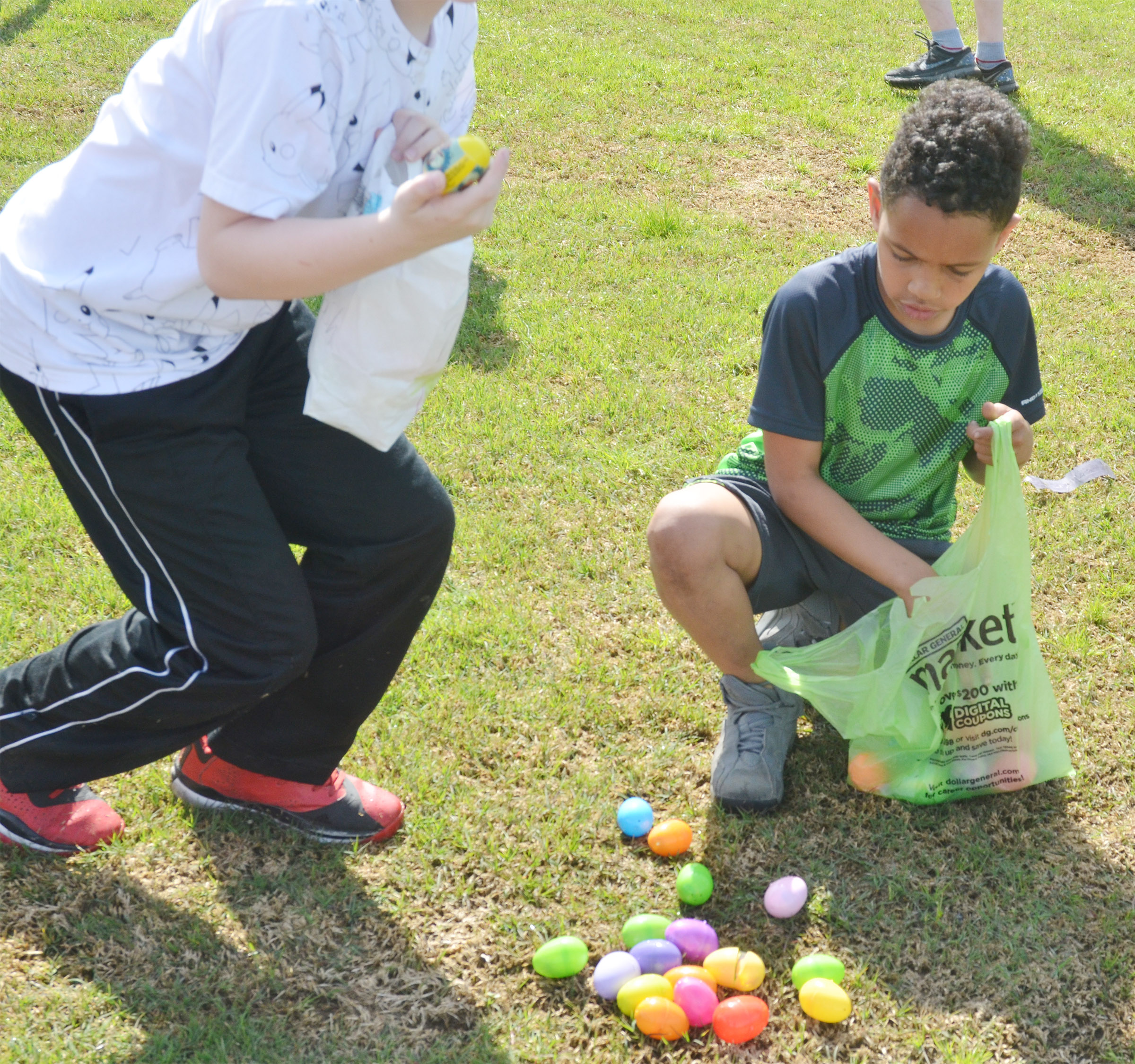 CES third-grader Anthony Goins counts his Easter eggs.