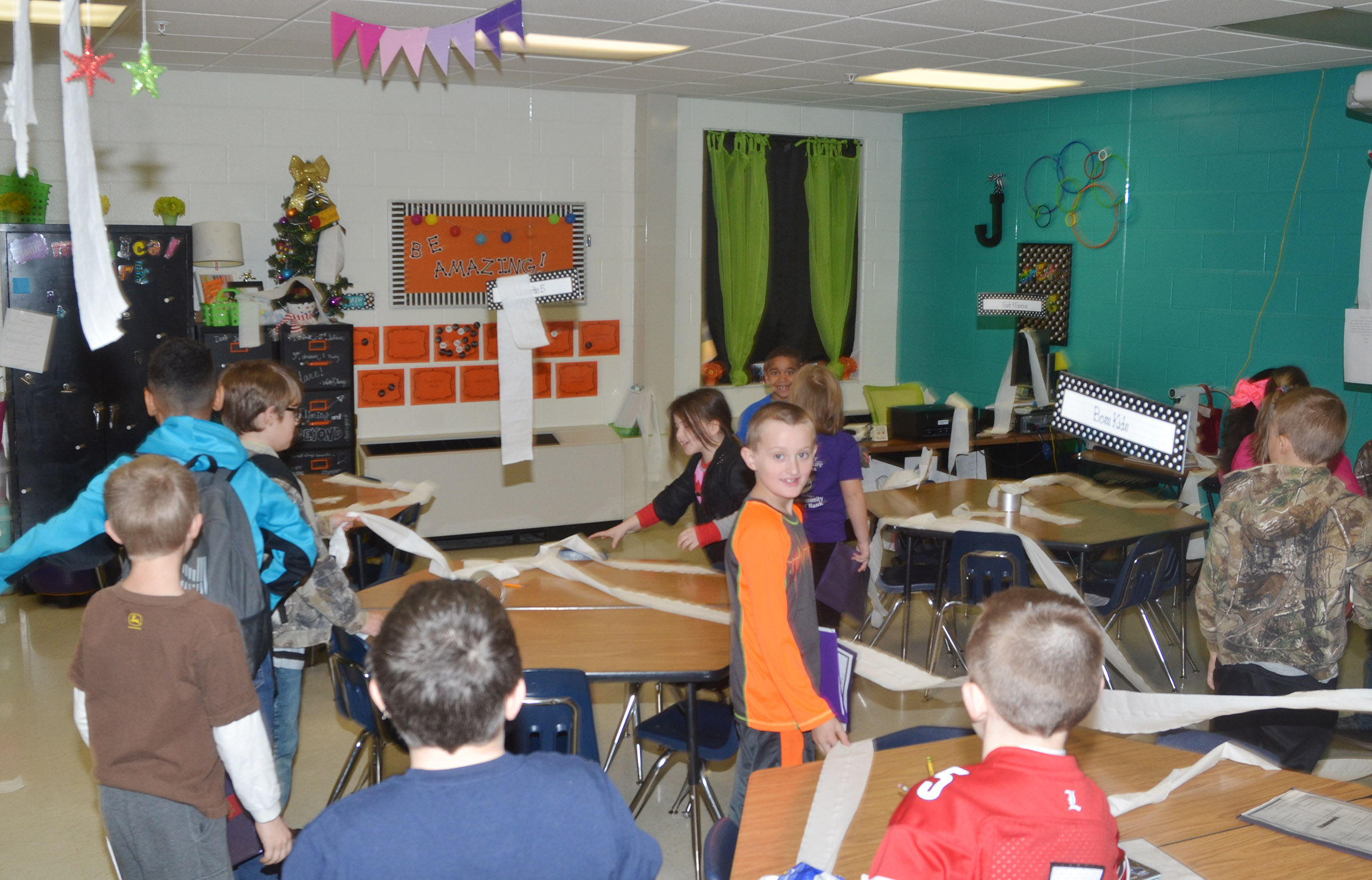 CES third-graders in Hannah Jones's class came to school recently and found their elf had thrown toilet paper all over their classroom.