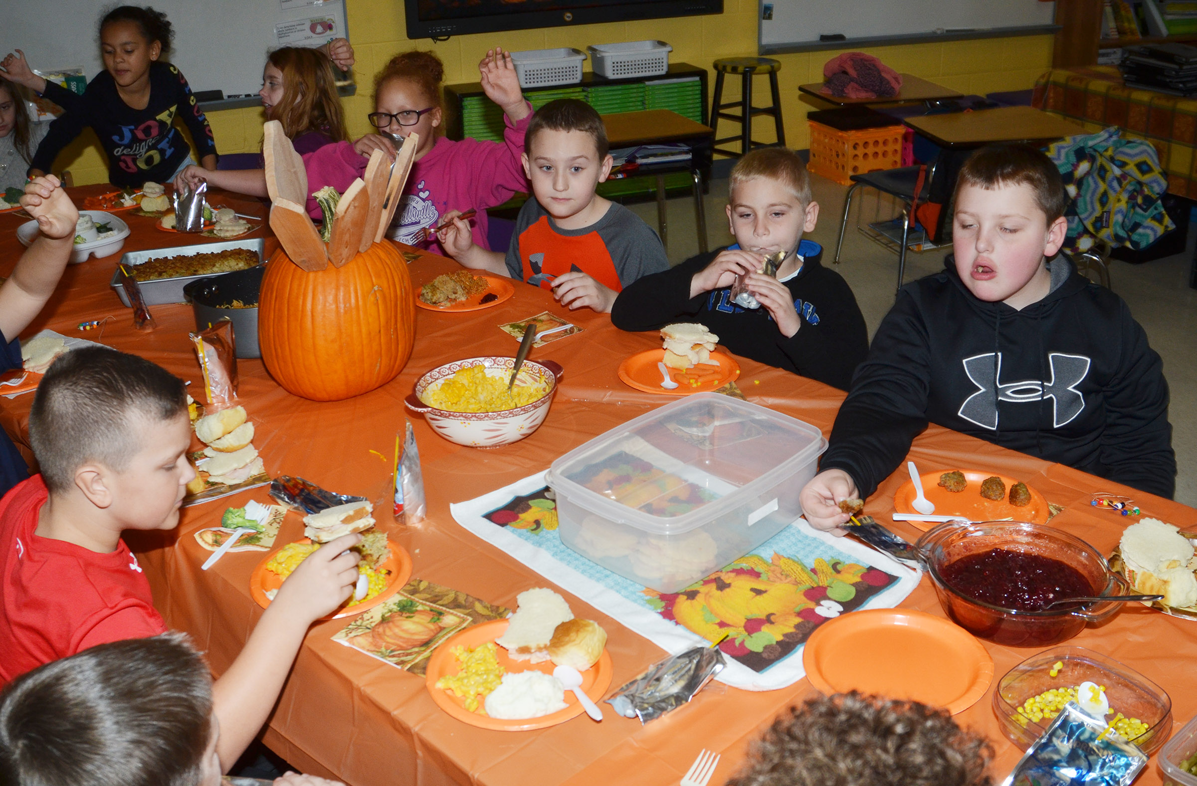 CES third-graders in Patty Haley's class enjoy their Thanksgiving feast.