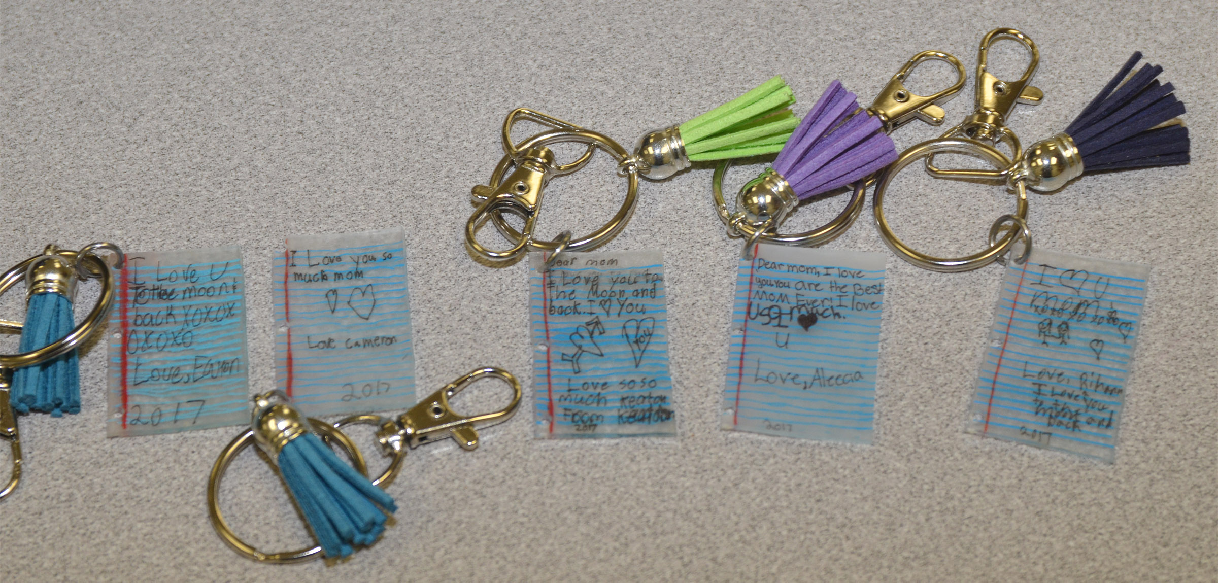 CES third-graders in Hannah Jones's class made these keychains for their mothers.