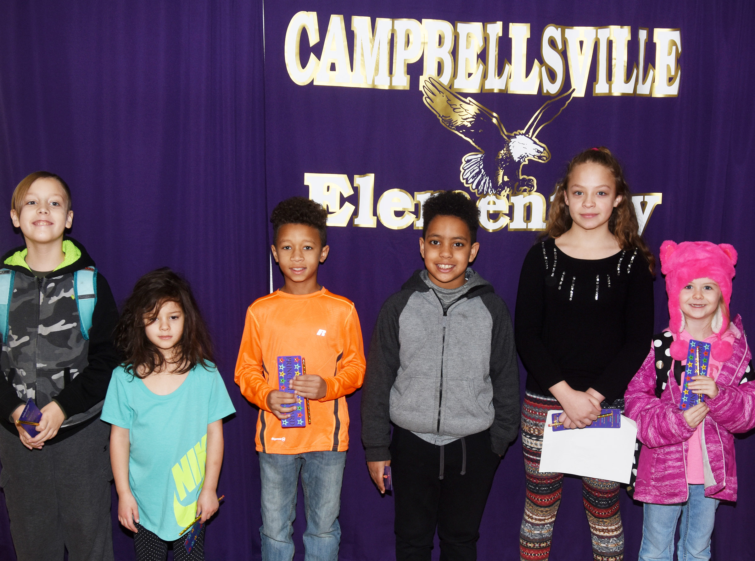 From left are fourth-grader Izak Burress, kindergartener Norah Adkins, third-grader Rajon Taylor, second-grader Romeo Goins, fifth-grader Deanna Reardon and first-grader Jewell Brewster.