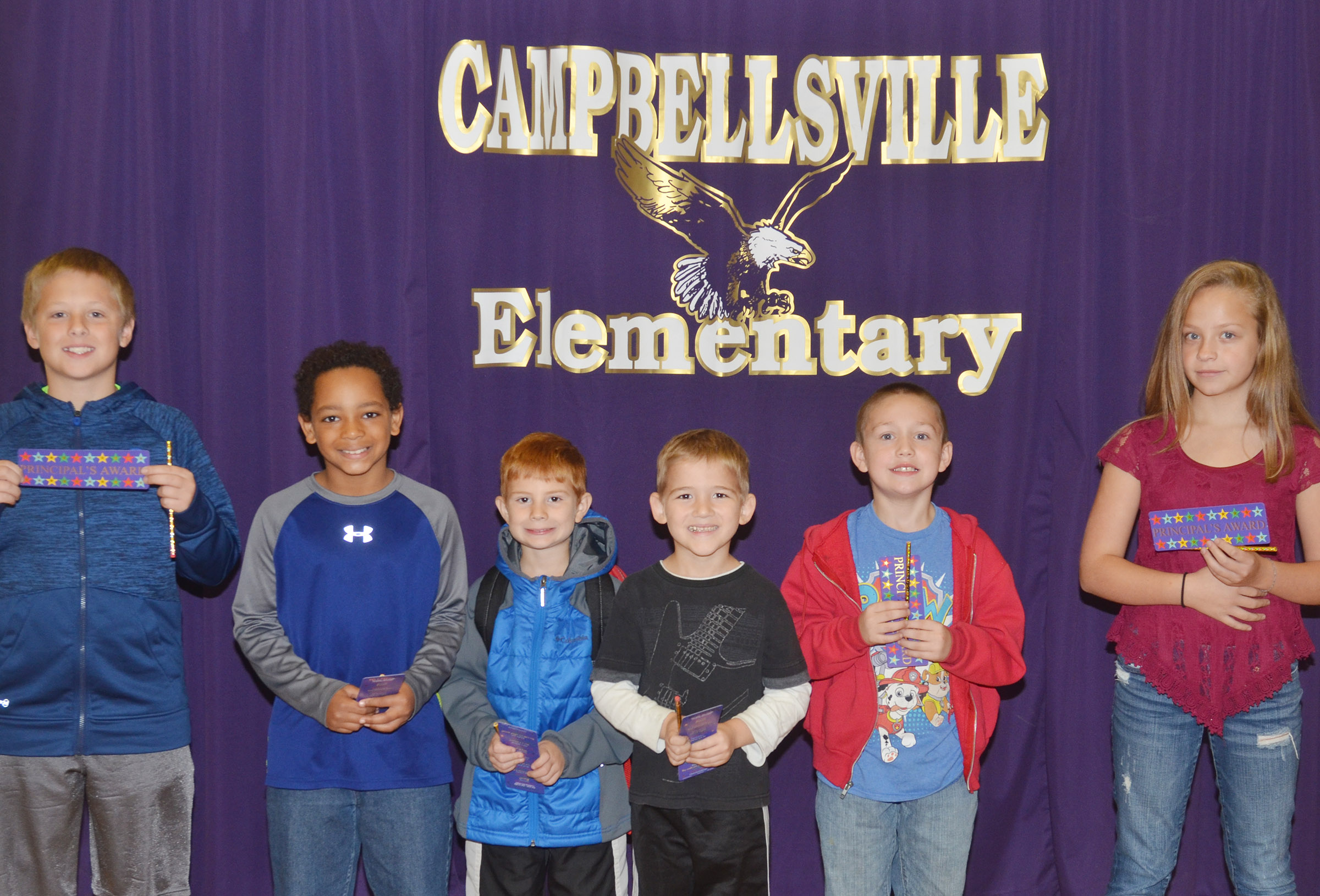 From left are third-grader Evan Lockridge, fourth-grader Jalen Embry, kindergartener Kennon Dotson, first-grader Mason Edwards, second-grader Jacob Golden and fifth-grader Deanna Reardon.