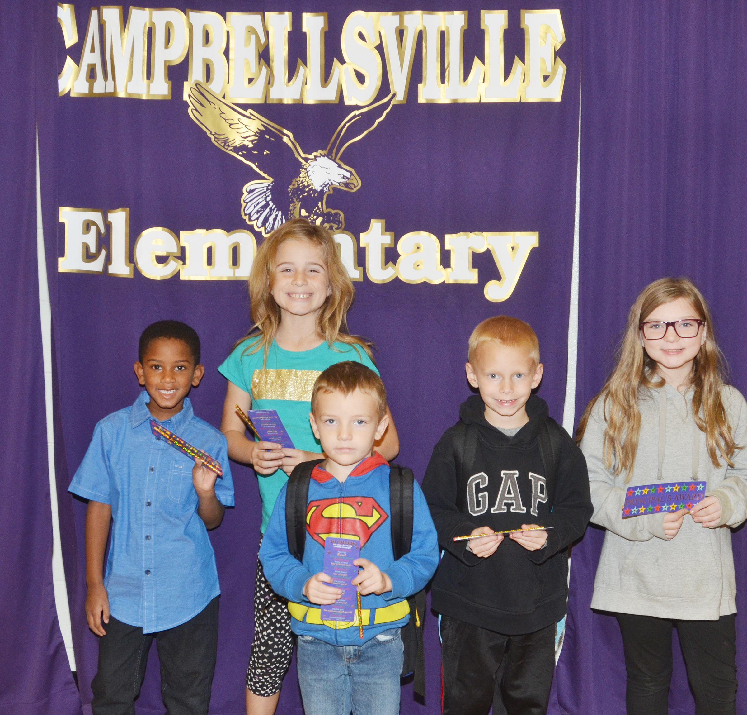 From left are first-grader Kasen Smith, fourth-grader Raegan Hayes, kindergartener Alex Wilson, second-grader Chase Gabbert and fifth-grader Morgan Spears. Absent from the photo is third-grader Camron Bryant.