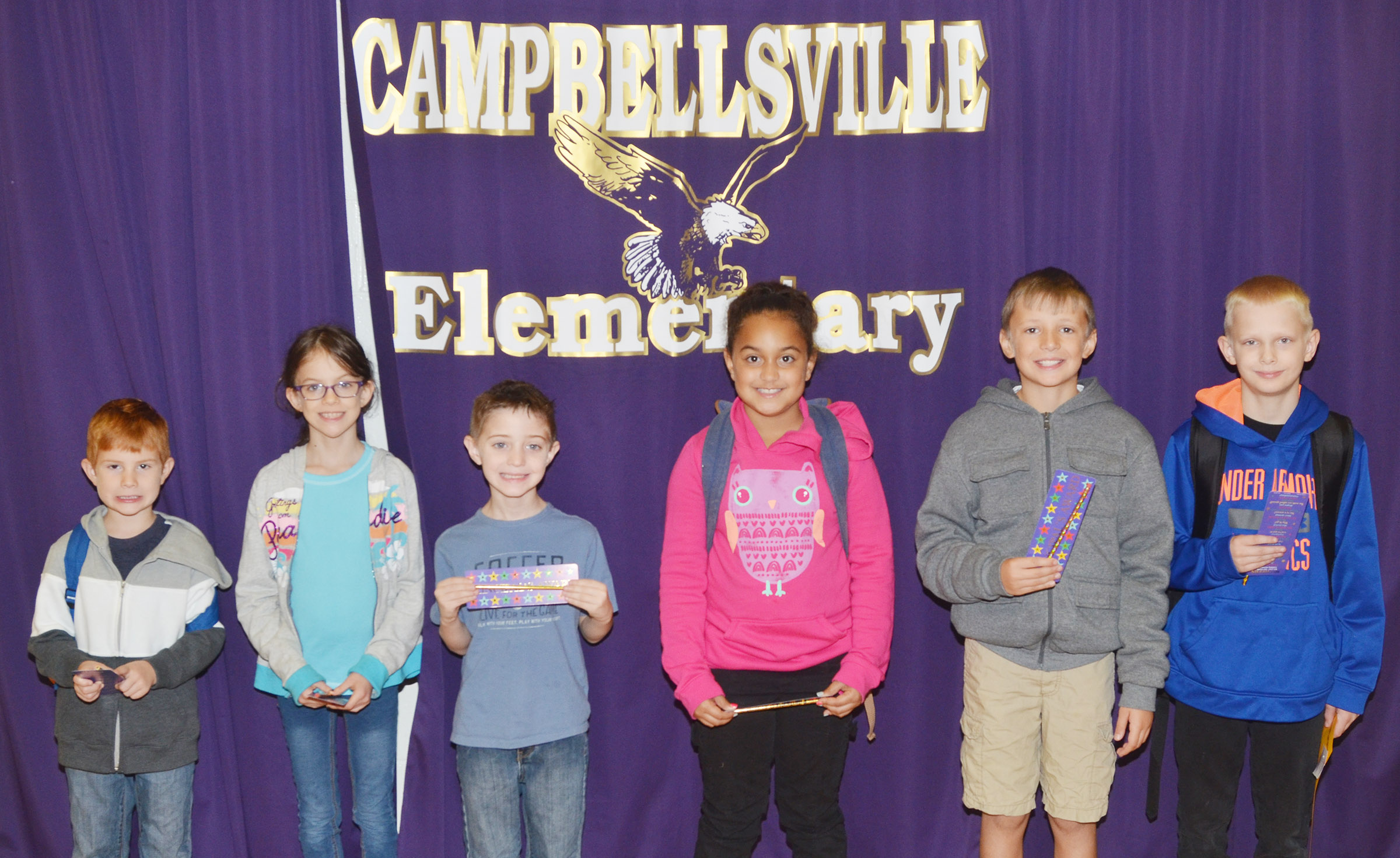 From left are kindergartener Kennon Dotson, third-grader Lilly Wise, first-grader Caleb Goodson, second-grader Maleigha Travis, fourth-grader Cameron Taylor and fifth-grader Bronson Cox.