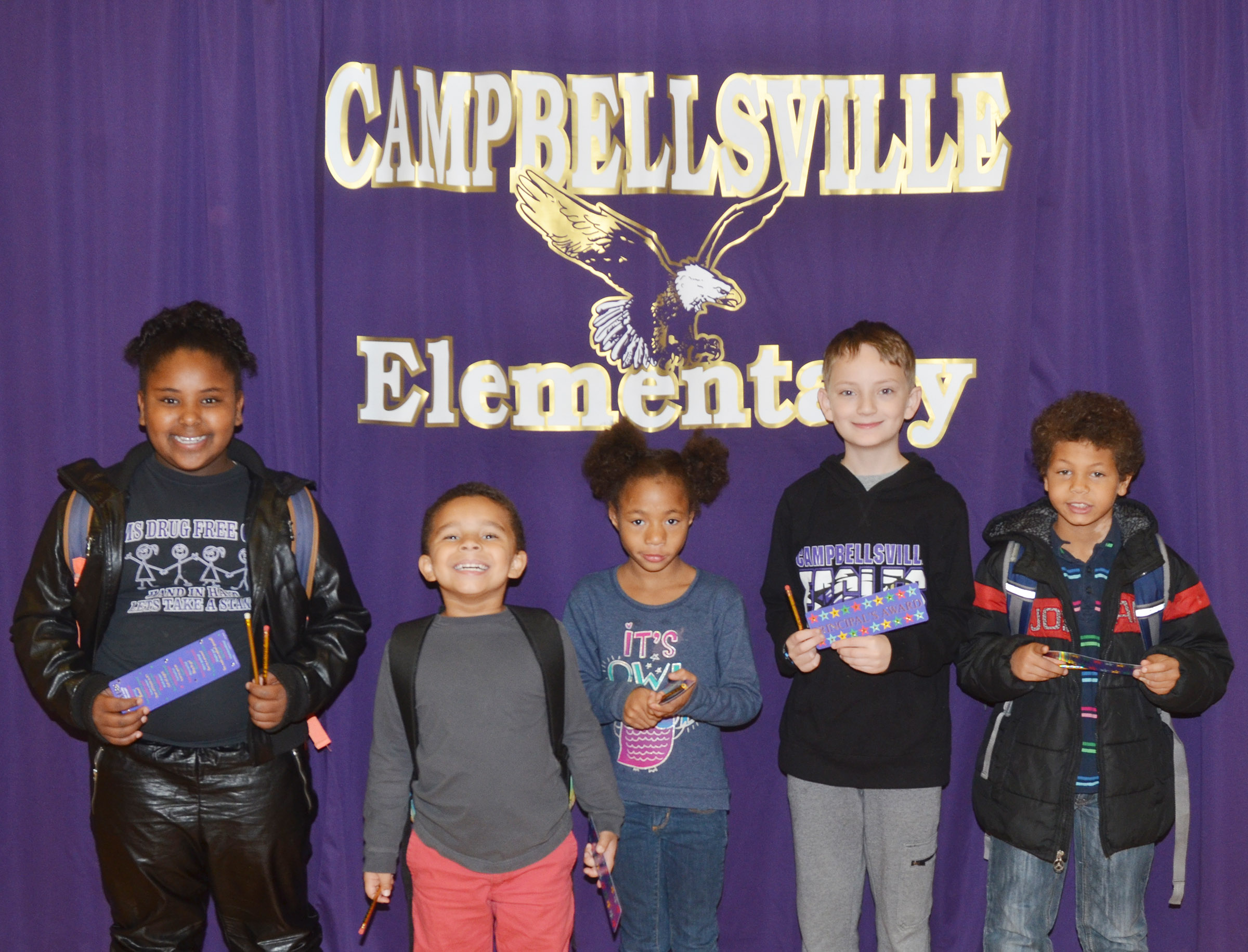 From left are third-grader Ajada Smith, kindergartener Tyrek Moore, first-grader Brea Miller, fifth-grader Noah Leachman and second-grader Tristen Williams. Absent from the photo is fourth-grader ReAnna Jeffries.