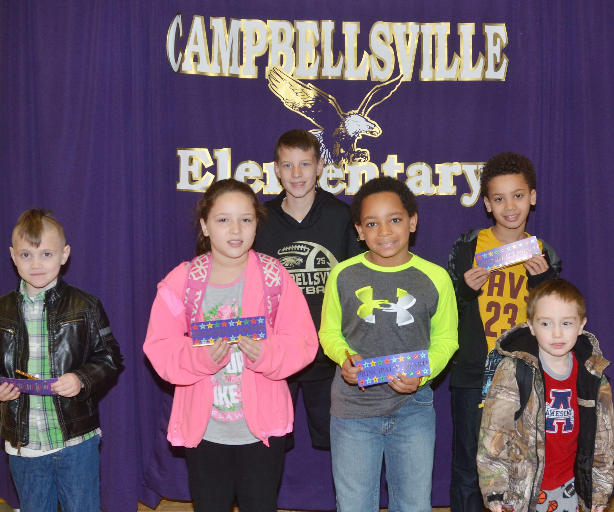From left are first-grader John Lane, third-grader Keely Rakes, fifth-grader Rowan Petett, fourth-grader Jaden Embry, second-grader Bryant Mayo and kindergartener Joshua Dickens.