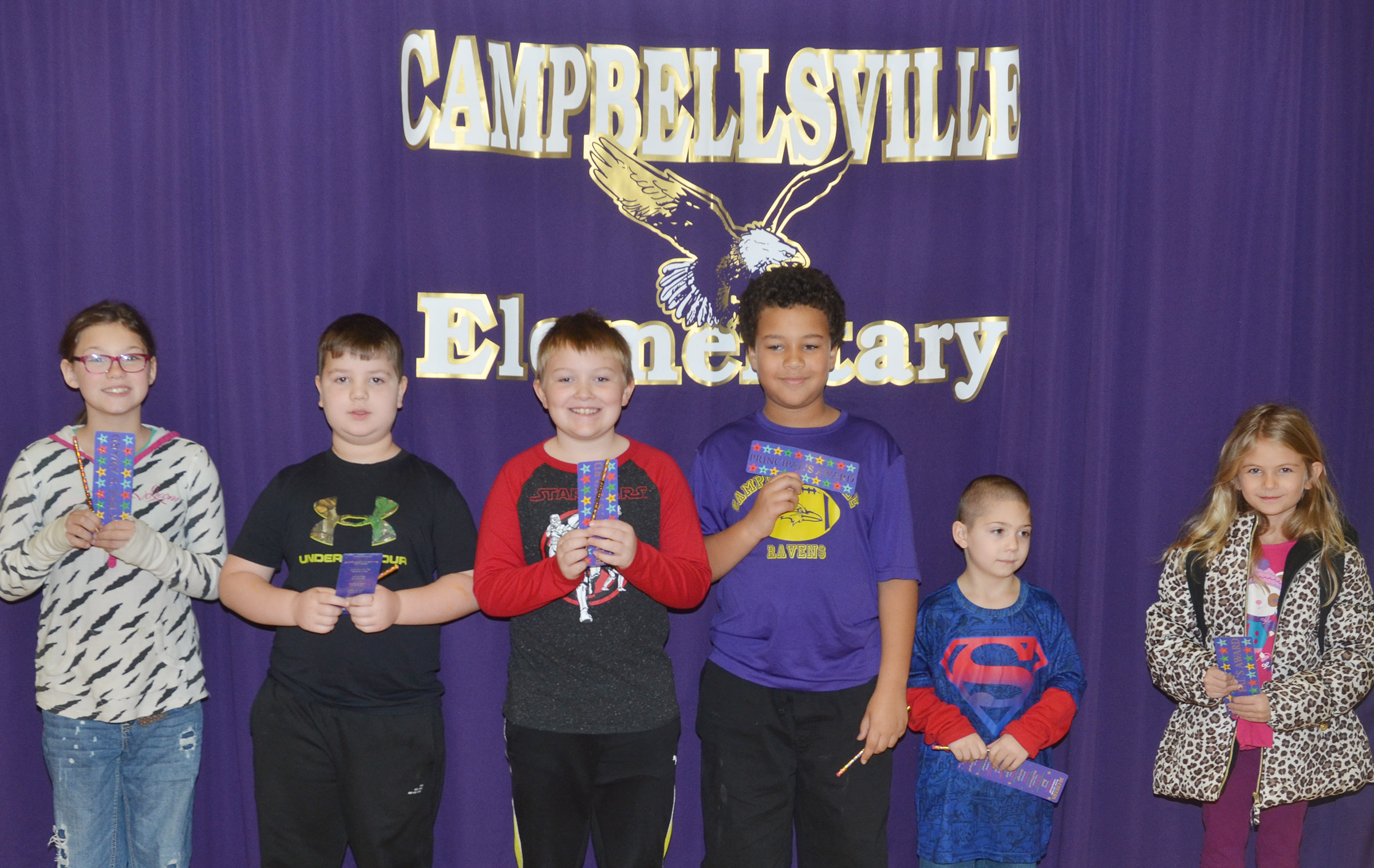 From left are fifth-grader Destiny Milby, second-grader Luke Mardis, third-grader Griffin Skaggs, fourth-grader Zarek Stone, kindergartener Josiah Dean and first-grader Gracie Gebler.