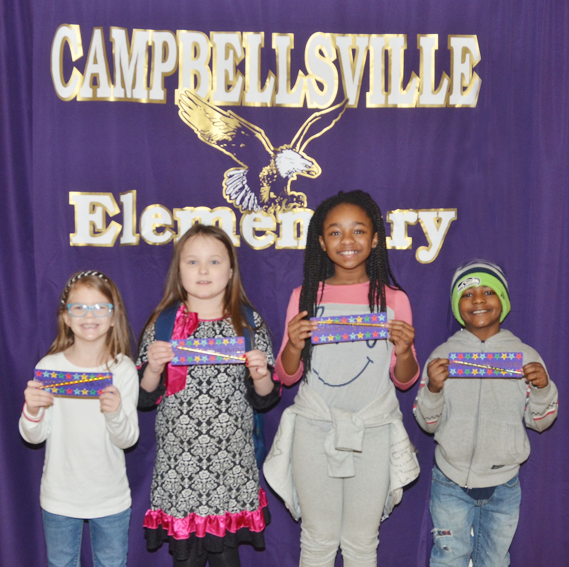 From left are kindergartener Zoe Weddle, second-grader Jazzlyn Cox, third-grader Tiffani Gaddie and first-grader Drelynn Hollins.