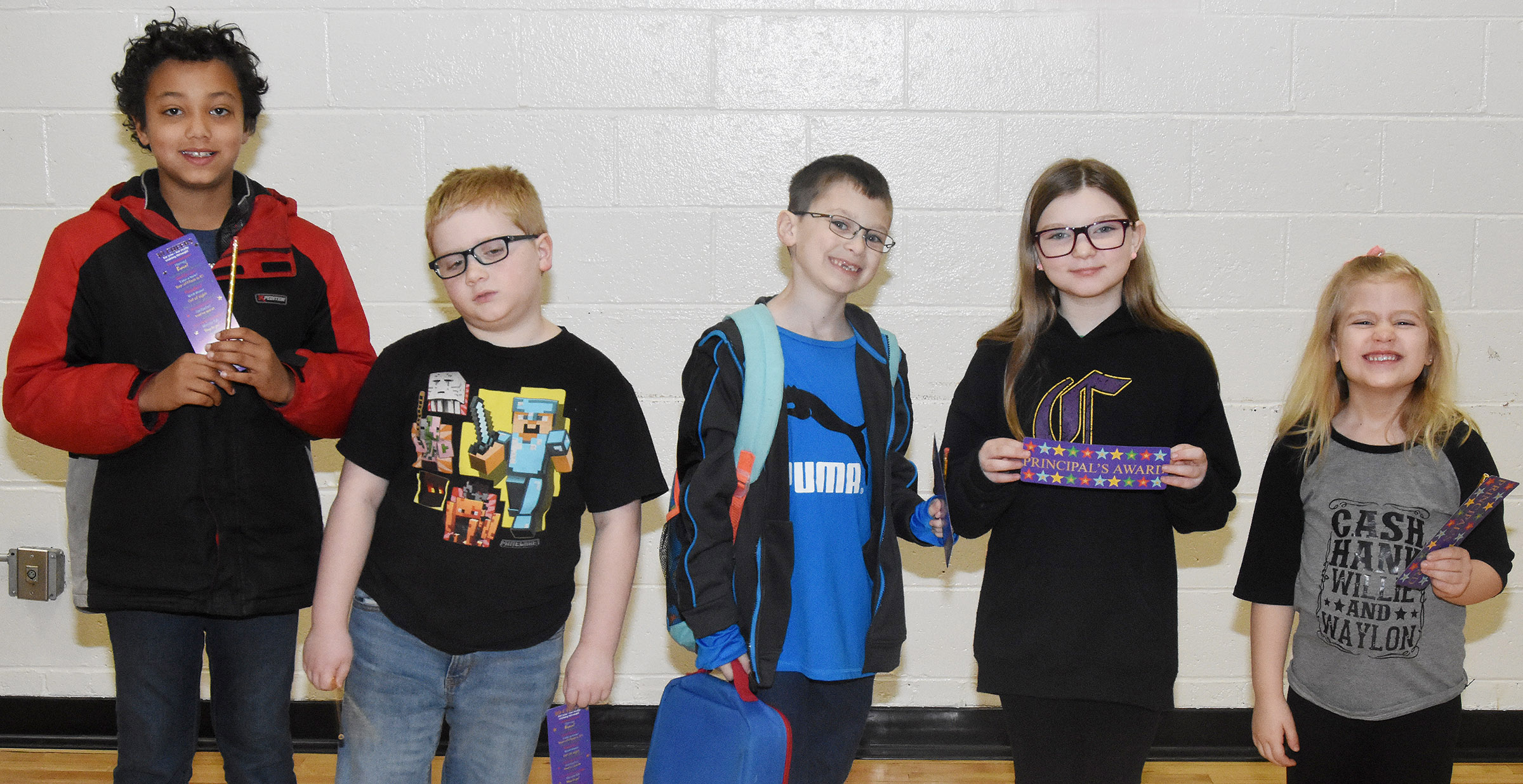 From left are fourth-grader Chance Owens, third-grader Aidan Bowles, first-grader Parker Newton, fifth-grader Morgan Spears and kindergartener Remi Petett. Absent from the photo is second-grader Katelynn Vest.