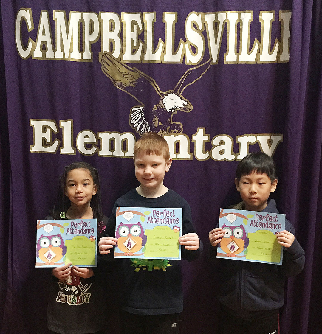 From left are second-grader Sammantha Wooley, first-grader Stella Newcomb and kindergartener Mason Edwards. Absent from the photo is third-grader Miranda Edwards.