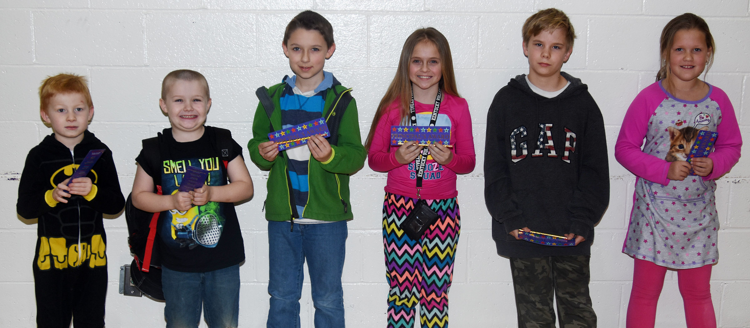 From left are first-grader Jayden Maupin, kindergartener Levi Dye, second-grader Aiden Forrest, fourth-grader Kennedy Griffiths, fifth-grader Thomas Tungate and third-grader Madison Smith.