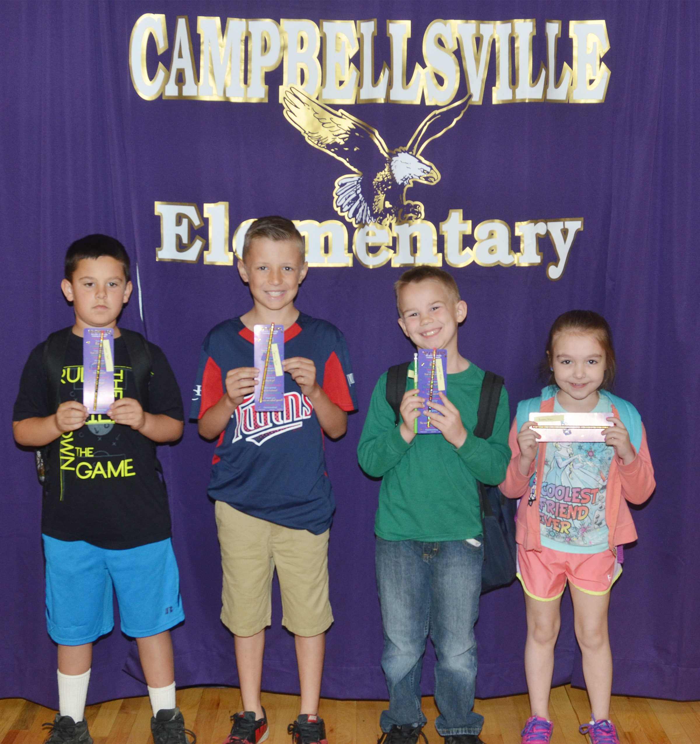 From left are second-grader Damien Clark, third-grader Cameron Taylor, first-grader Jackson Bates and kindergartner Aubrey Allen.