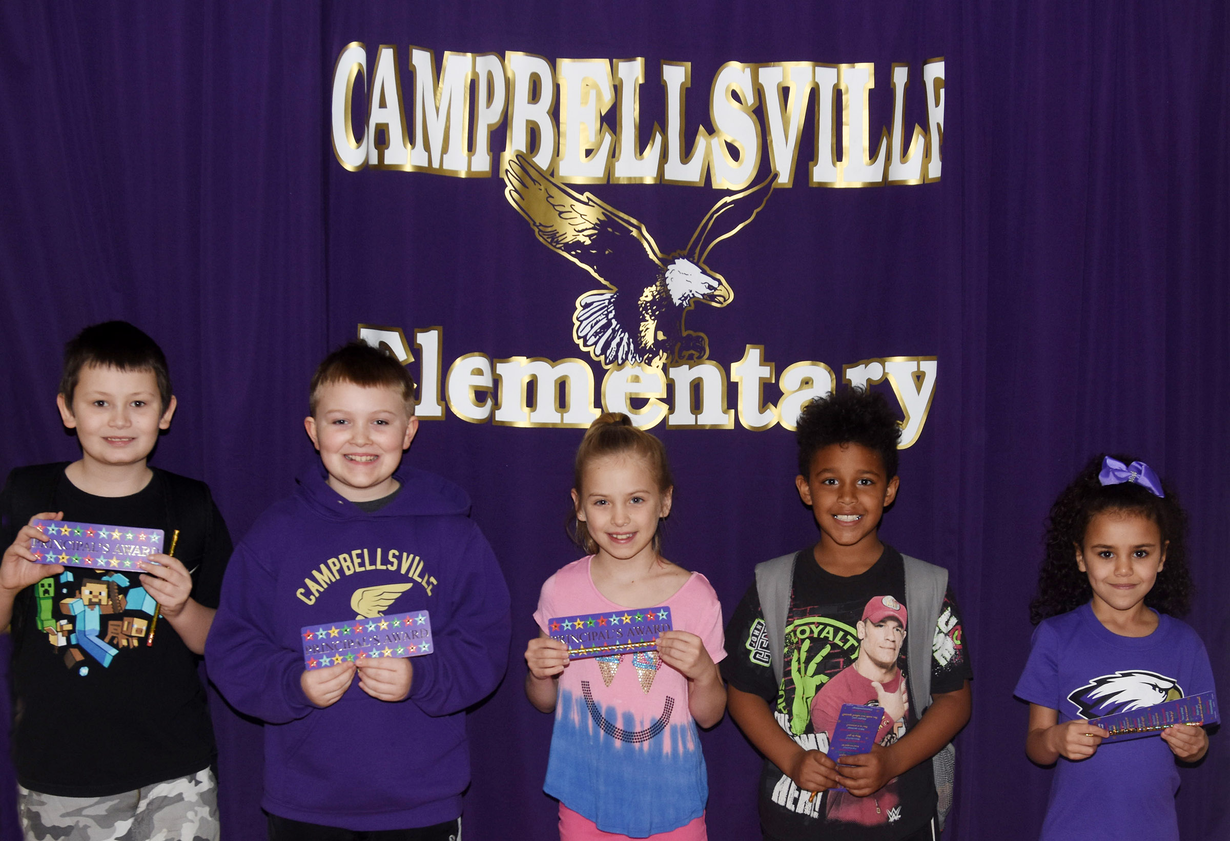 From left are fifth-grader Mason Fisher, third-grader Griffin Skaggs, second-grader Ava Ellis, first-grader Carter Bell and kindergartener Adelyn Litsey. Absent from the photo is fourth-grader Aliyah Burton.