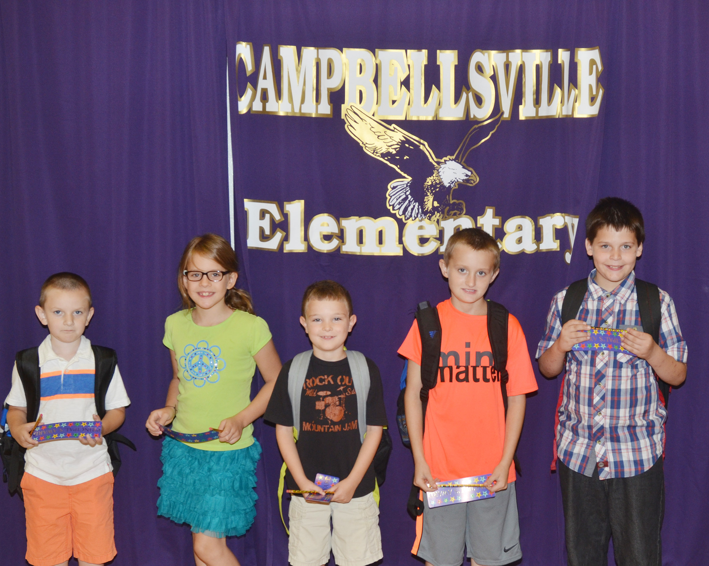 From left are first-grader Ryne Gumm, fifth-grader Ellie Wise, second-grader Karson Burchett, third-grader Zachary Cox and fourth-grader Chris Brown. Absent from the photo is kindergartener Trinity Dye.