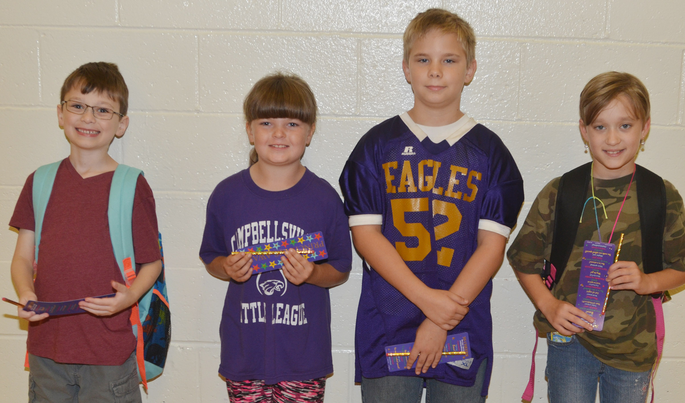 From left are first-grader Parker Newton, third-grader Kaleigh Wilhoite, fifth-grader Mark Tungate and fourth-grader Katie Nunn. Absent from the photo are kindergartener Tatum Hoskins and second-grader Sidney Sallee.