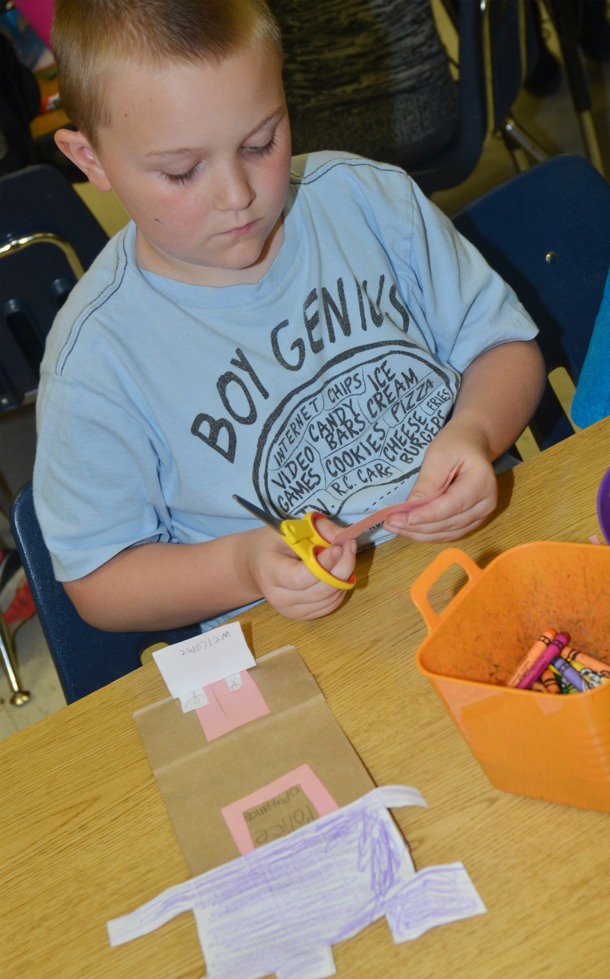 CES second-grader Griffin Skaggs makes his police station.