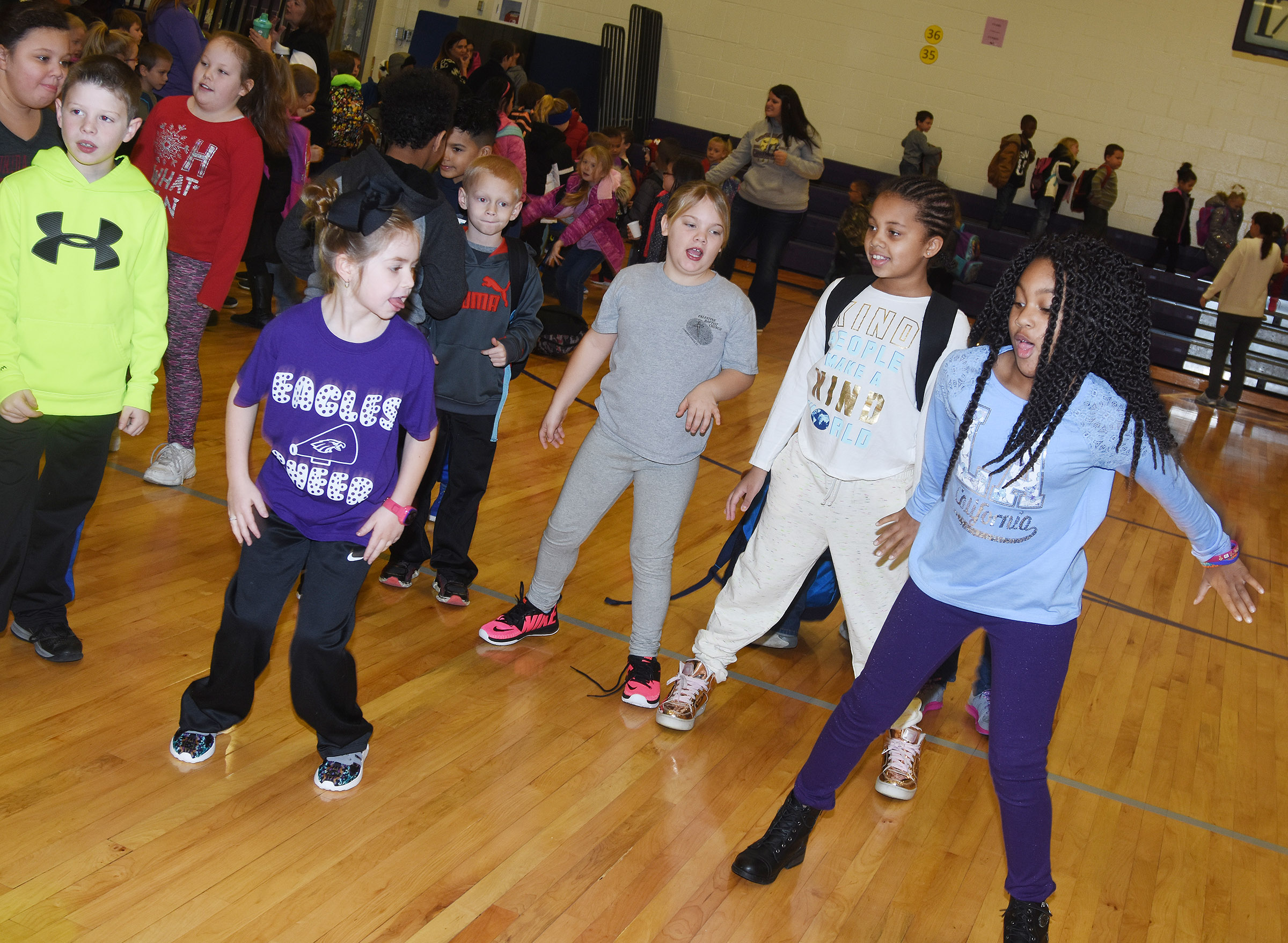 CES second-graders dance after the first school assembly of 2018.