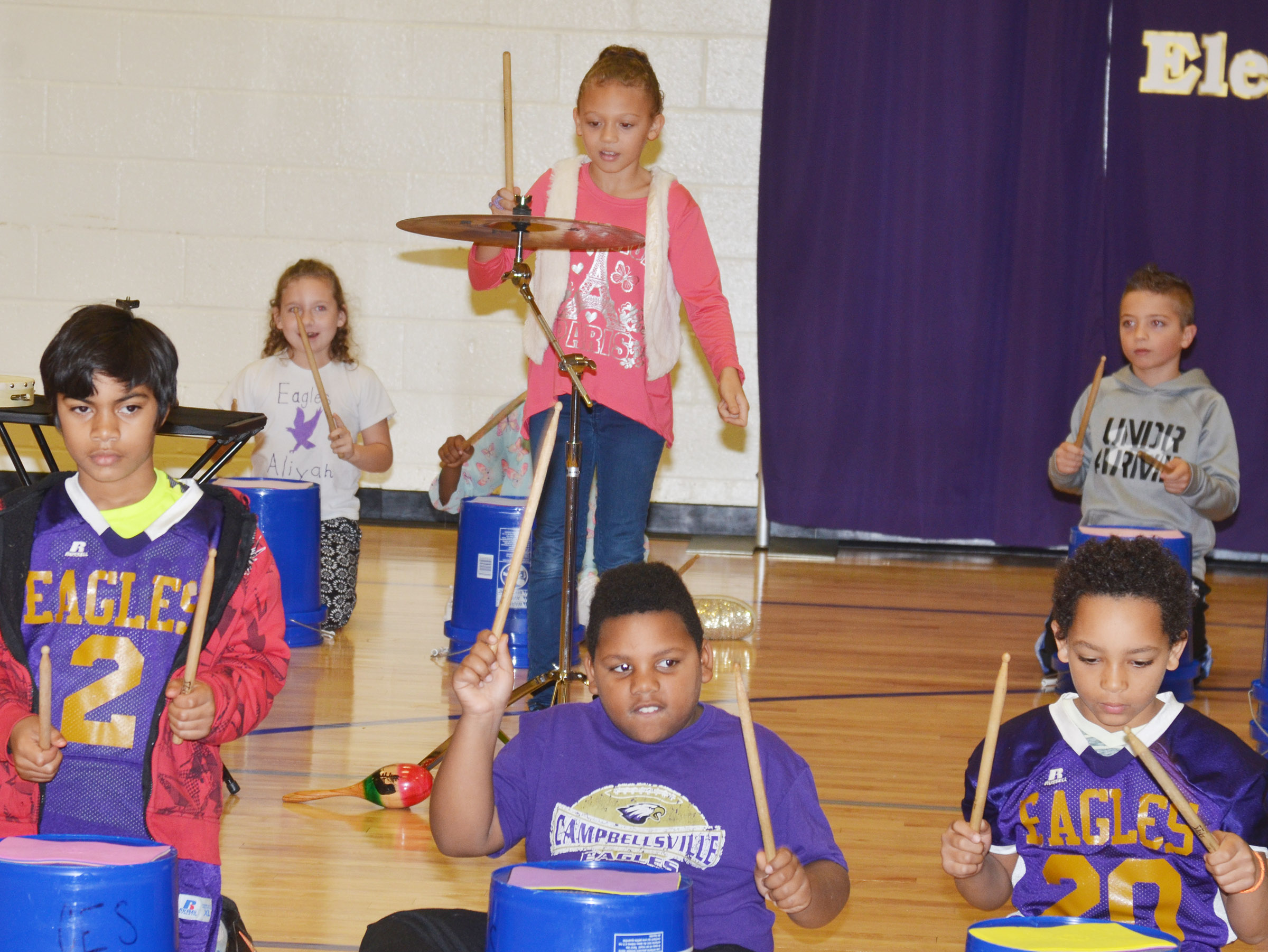 CES fourth-grader Alicia Spaulding plays a solo.
