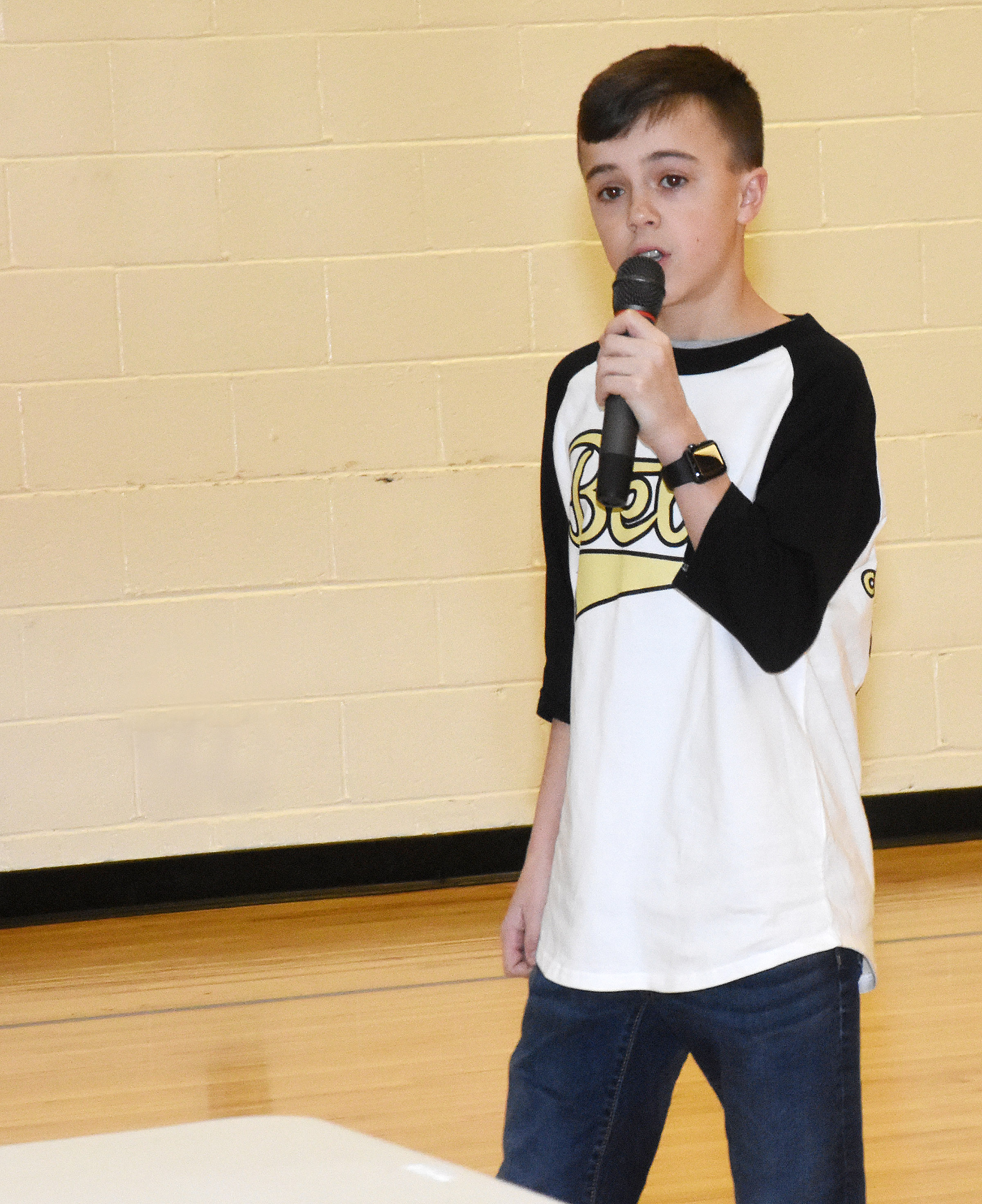 Chase Hord, a seventh-grader, delivers his campaign speech. He and his fellow Beta members will attend the Kentucky Junior Beta Convention next week.