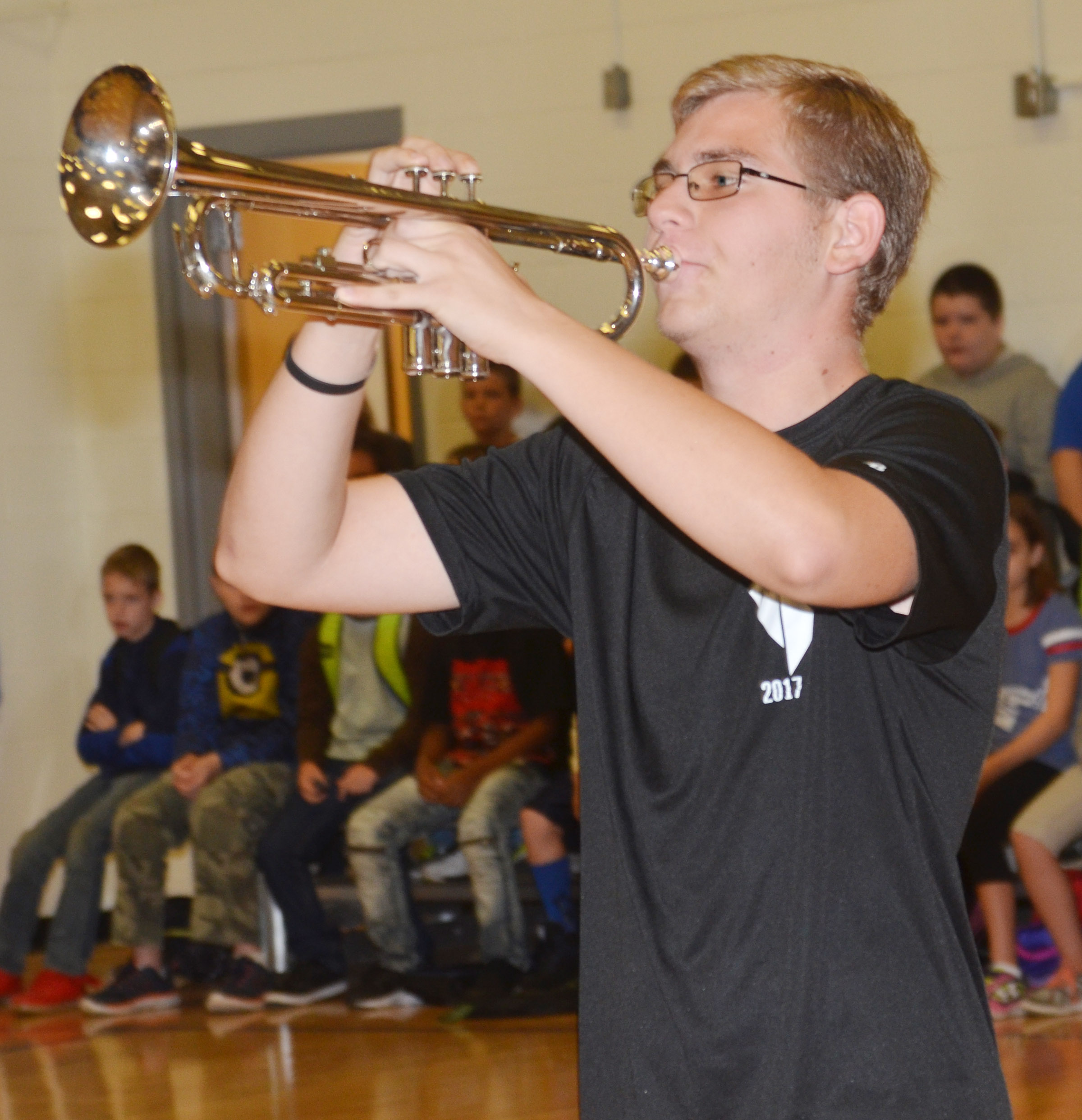 CHS junior Brandon Greer plays for CES students.