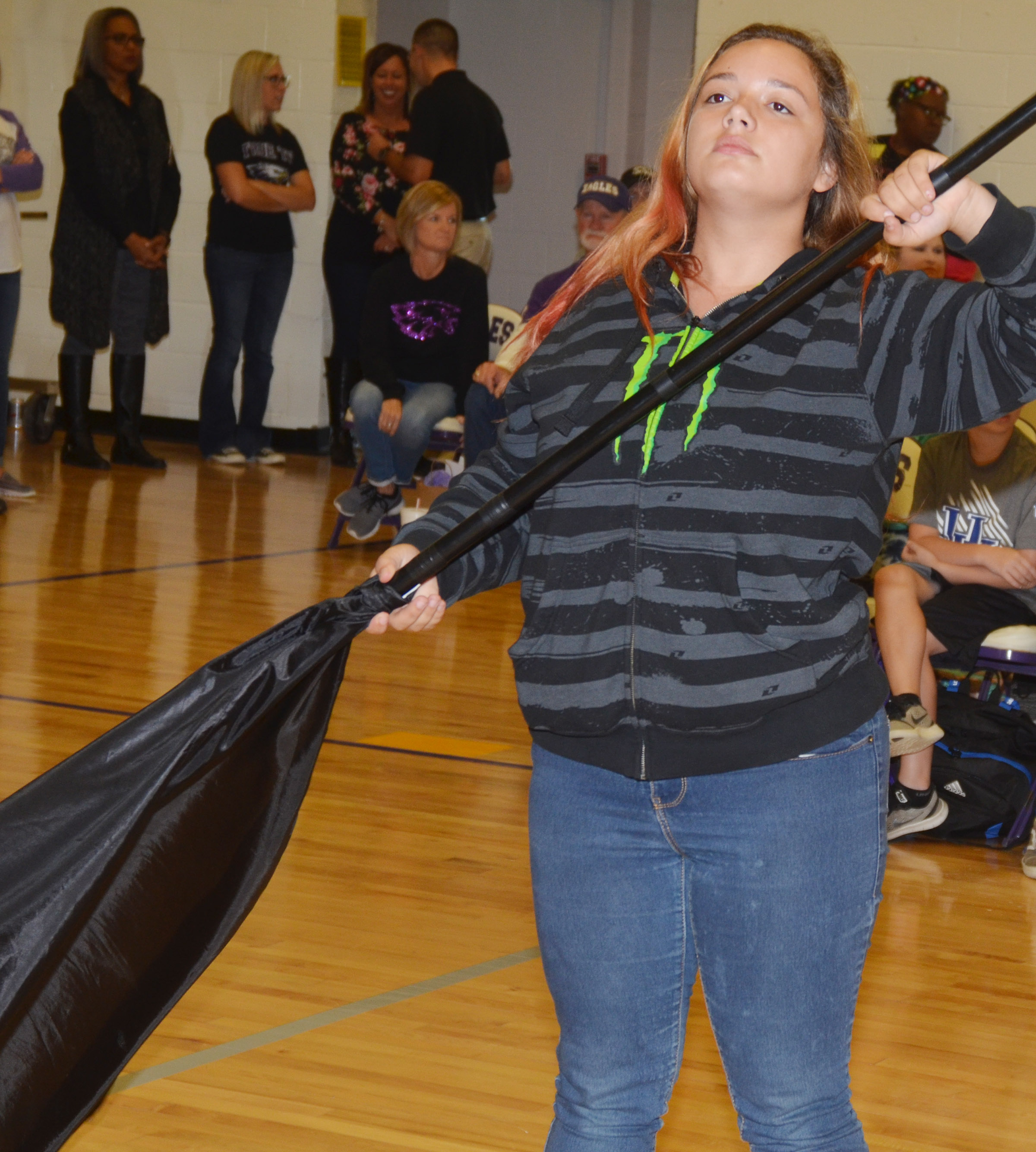 CHS sophomore Autumn Babbs performs for CES students.