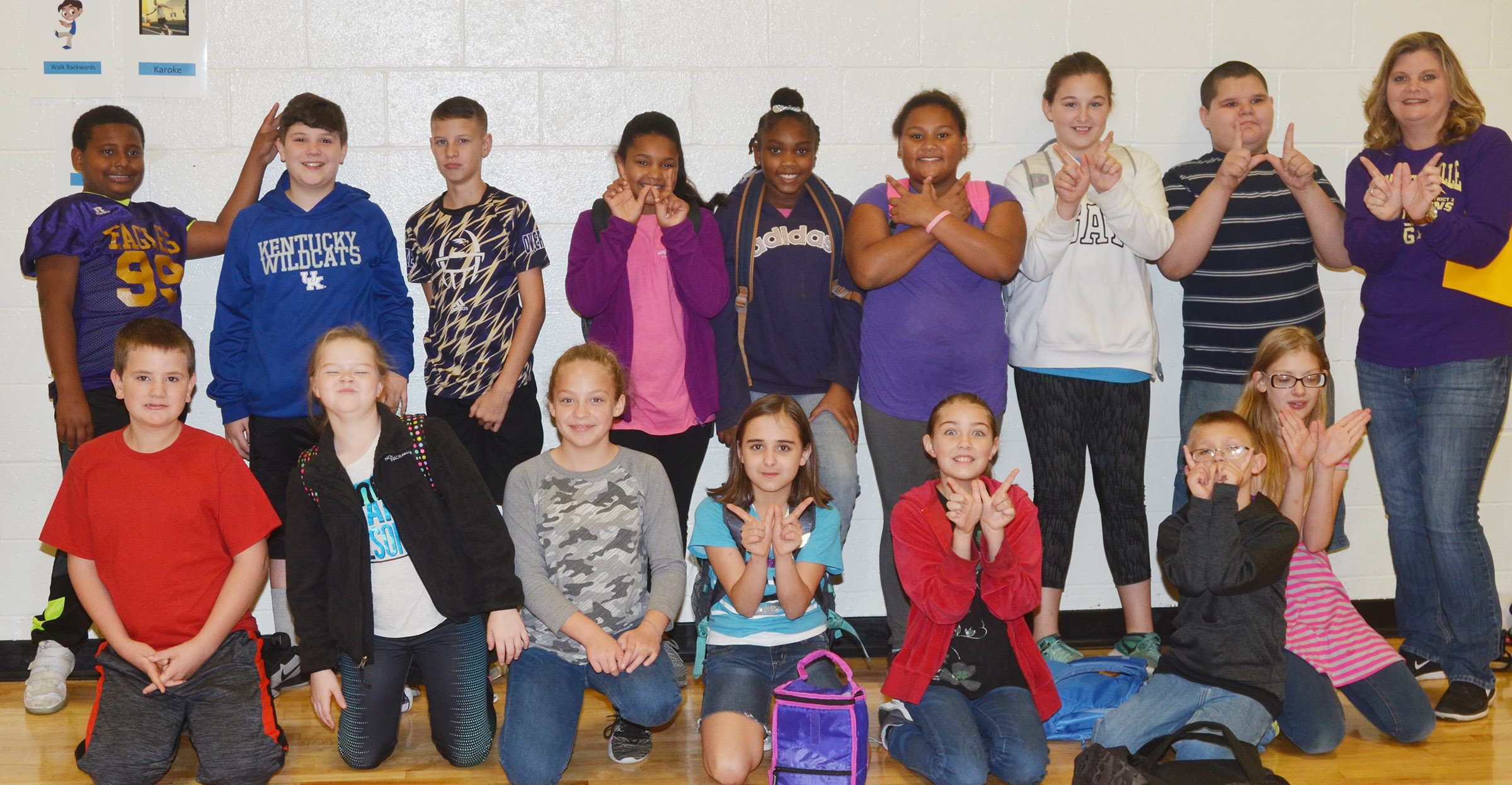 Tammy Hash's fifth-grade leadership class recently won the school's four-week attendance challenge, with a rate of 97 percent. Students will be rewarded with a pizza or donut party. From left, front, are Kaleb Martin, Miley Hash, Deanna Reardon, Anna Floyd, Harley Couch-Allen, Tyler Haulk and Payton Releford. Back, KeKe Miller, Andrew Mardis, Rowan Petett, Jaclyn Jackson, Ta'Zaria Owens, Dezarae Washington, Riley Newton, Steven Miller and Hash.