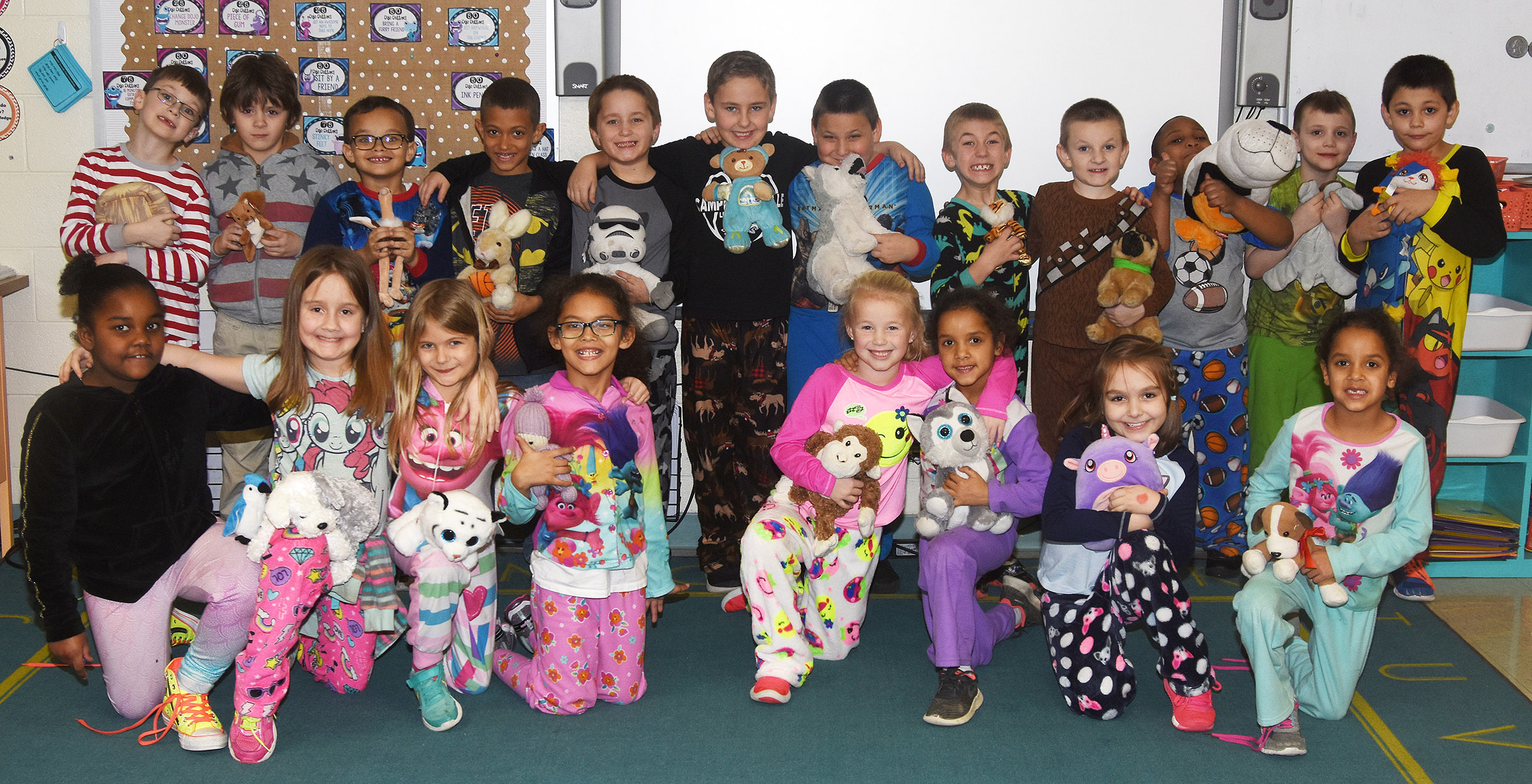 CES first-graders in Amanda Barnett's class recently had a pajama party to celebrate improving their MAP scores and everyone learning to correctly tie their shoes.