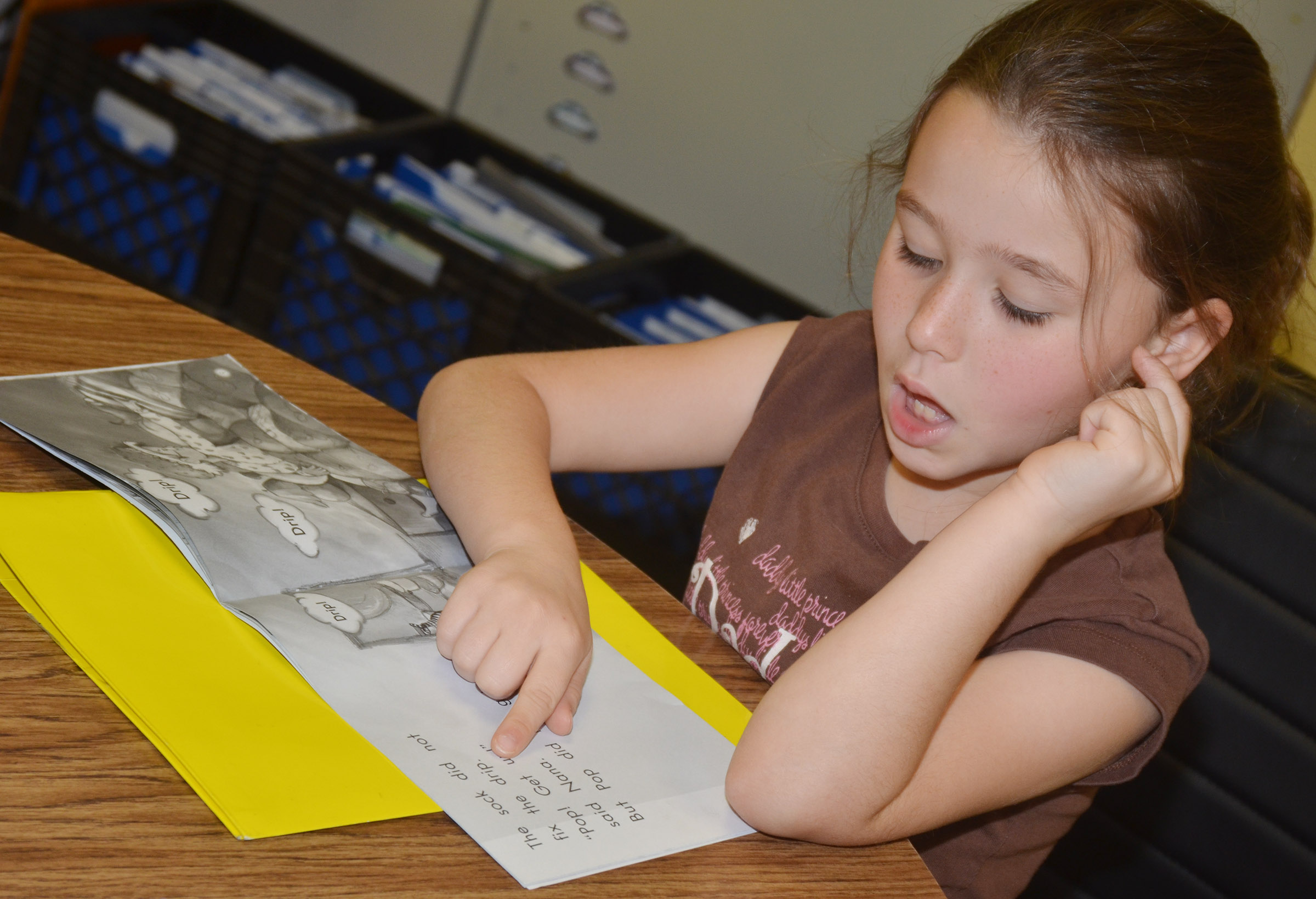 CES second-grader Kinsley Graham reads.
