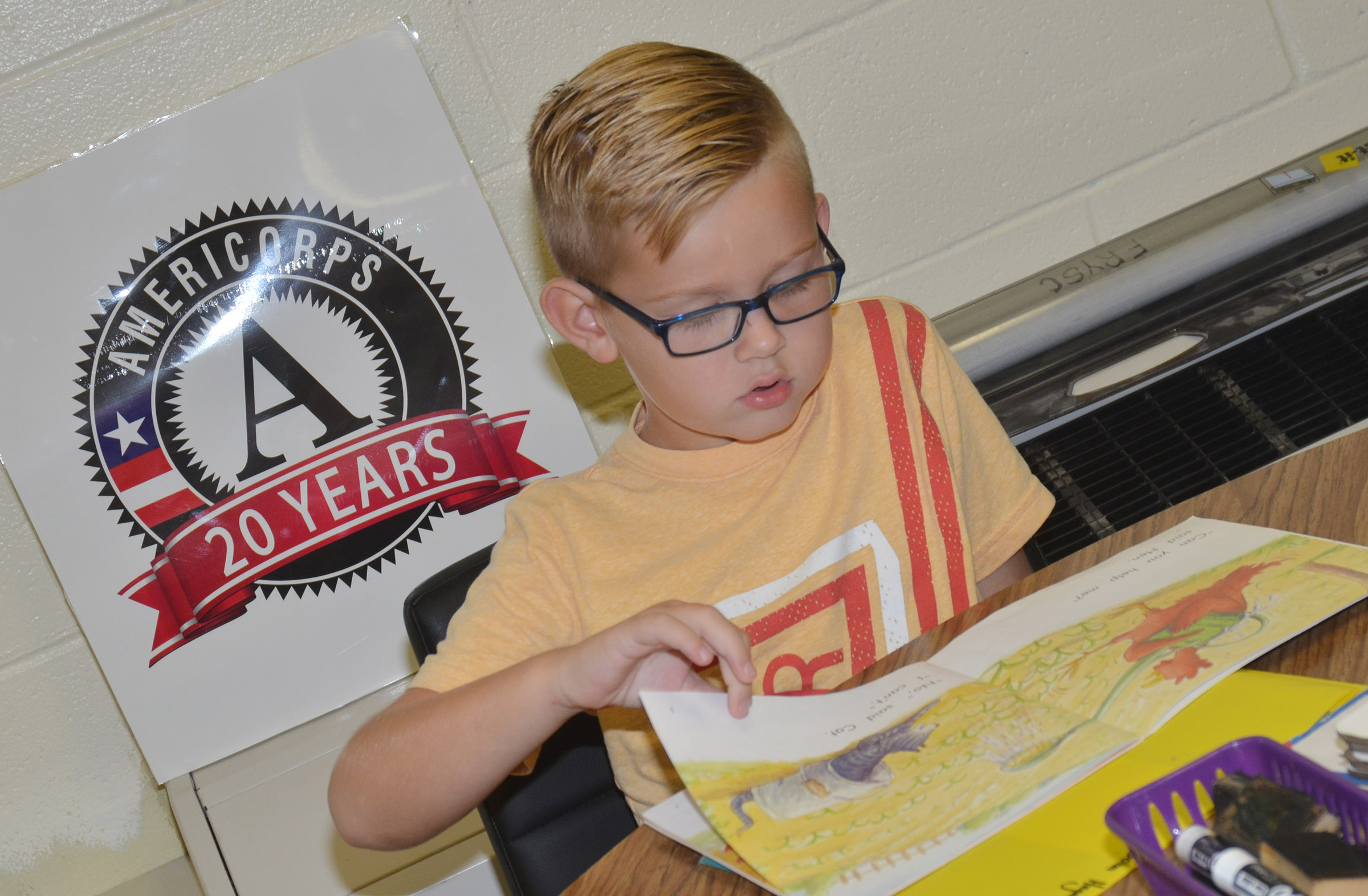 CES first-grader John Hagan Newton reads.