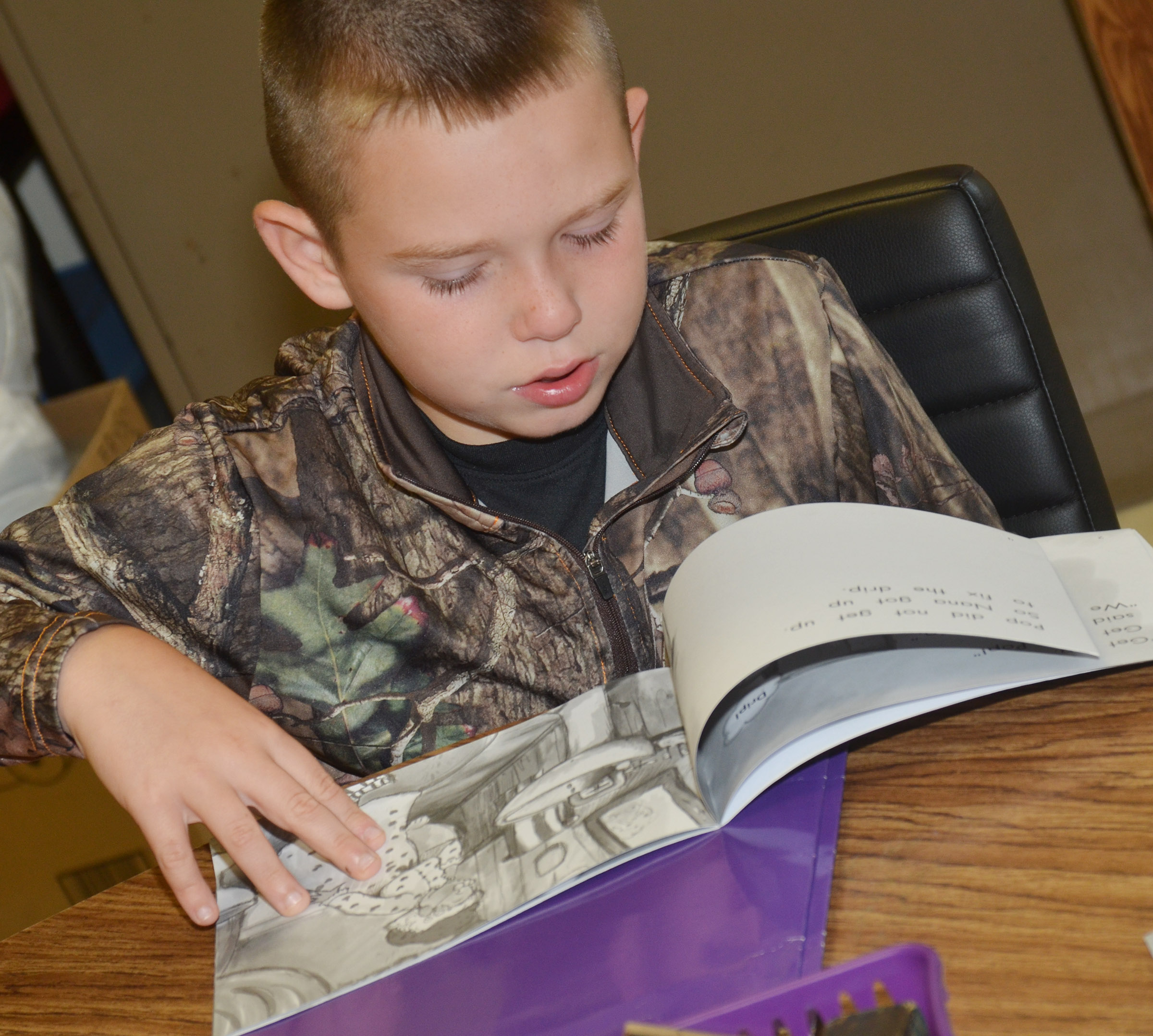 CES second-grader Colton Maggard reads.