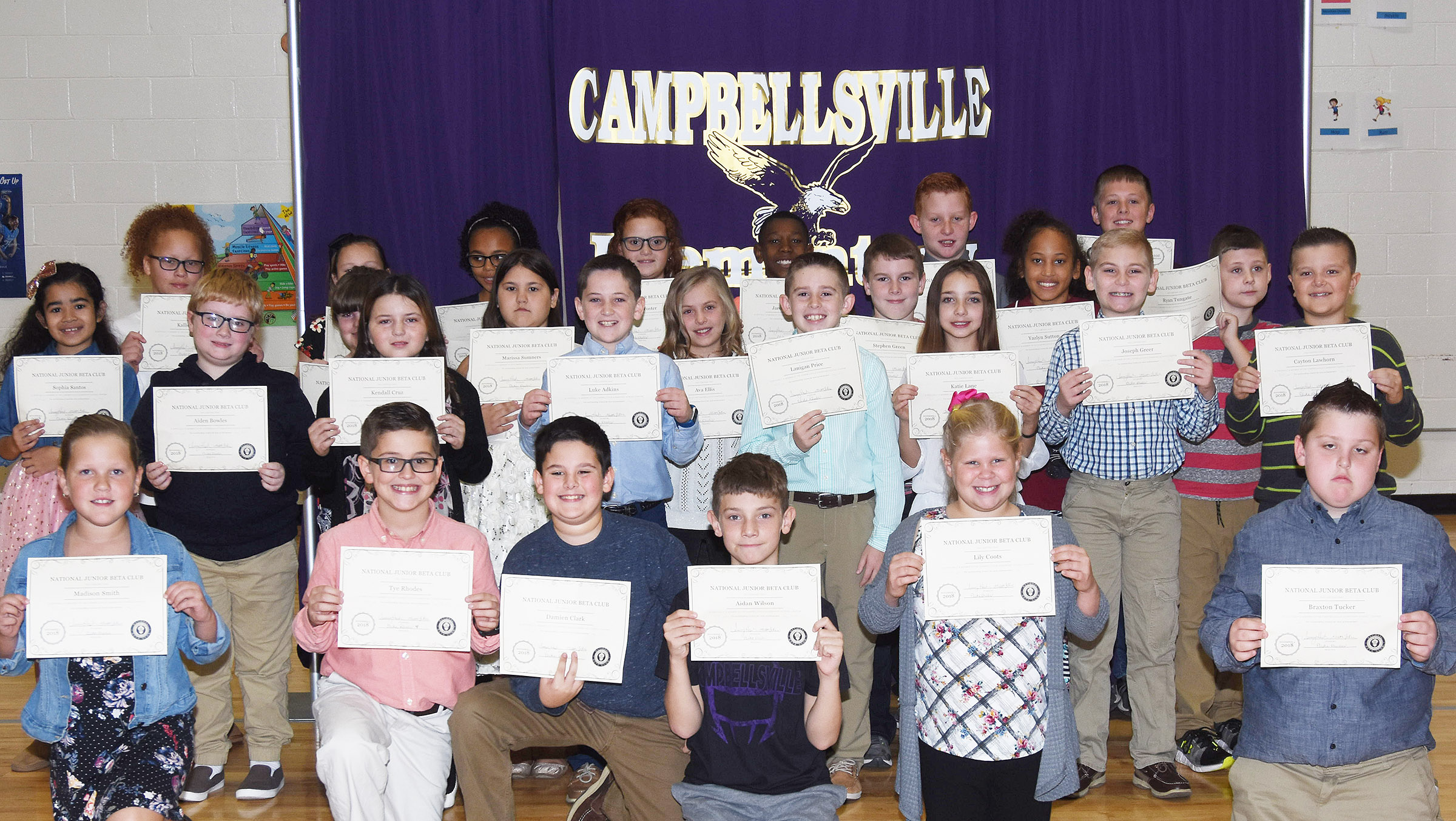 Fourth-graders inducted into the first-ever CES Junior Beta Club are, from left, front, Madison Smith, Tye Rhodes, Damien Clark, Aidan Wilson, Lily Coots and Braxton Tucker. Second row, Sophia Santos, Aiden Bowles, Kaleigh Wilhoite, Kendall Cruz, Marissa Sumners, Luke Adkins, Ava Ellis, Lanigan Price, Stephen Green, Katie Lane, Yazlyn Sutton, Joseph Greer, Ryan Tungate and Cayton Lawhorn. Back, Kallie Taylor, River McFarland, Braelyn Taylor, Analeigh Foster, Jaron Johnson, Reece Swafford and Evan Lockridge. Absent from the photo is fourth-grader Hayden Maupin.