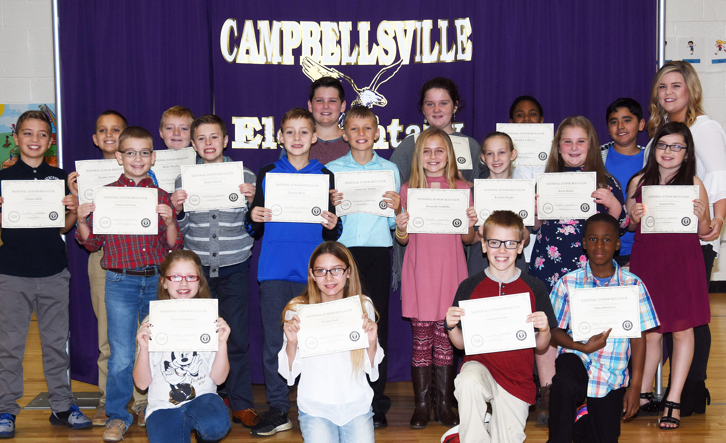 Fifth-graders inducted into the first-ever CES Junior Beta Club are, from left, front, Gracie Pendleton, Vivian York, Connor Coots and John Gholston. Second row, Cameron Estes, Keaton Hord, Caysen Wise, Cameron Taylor, Kennedy Griffiths, Kendall Bright, Keira Bailey and Lauren Pace. Back, Carson Mills, Bradley Paris, Ryder Murphy, Ethan Garrison, Madison Philpott, Shaiden Calhoun, Cody Tamez and sponsor Alison LaRue. Absent from the photo is Grayson Dooley.