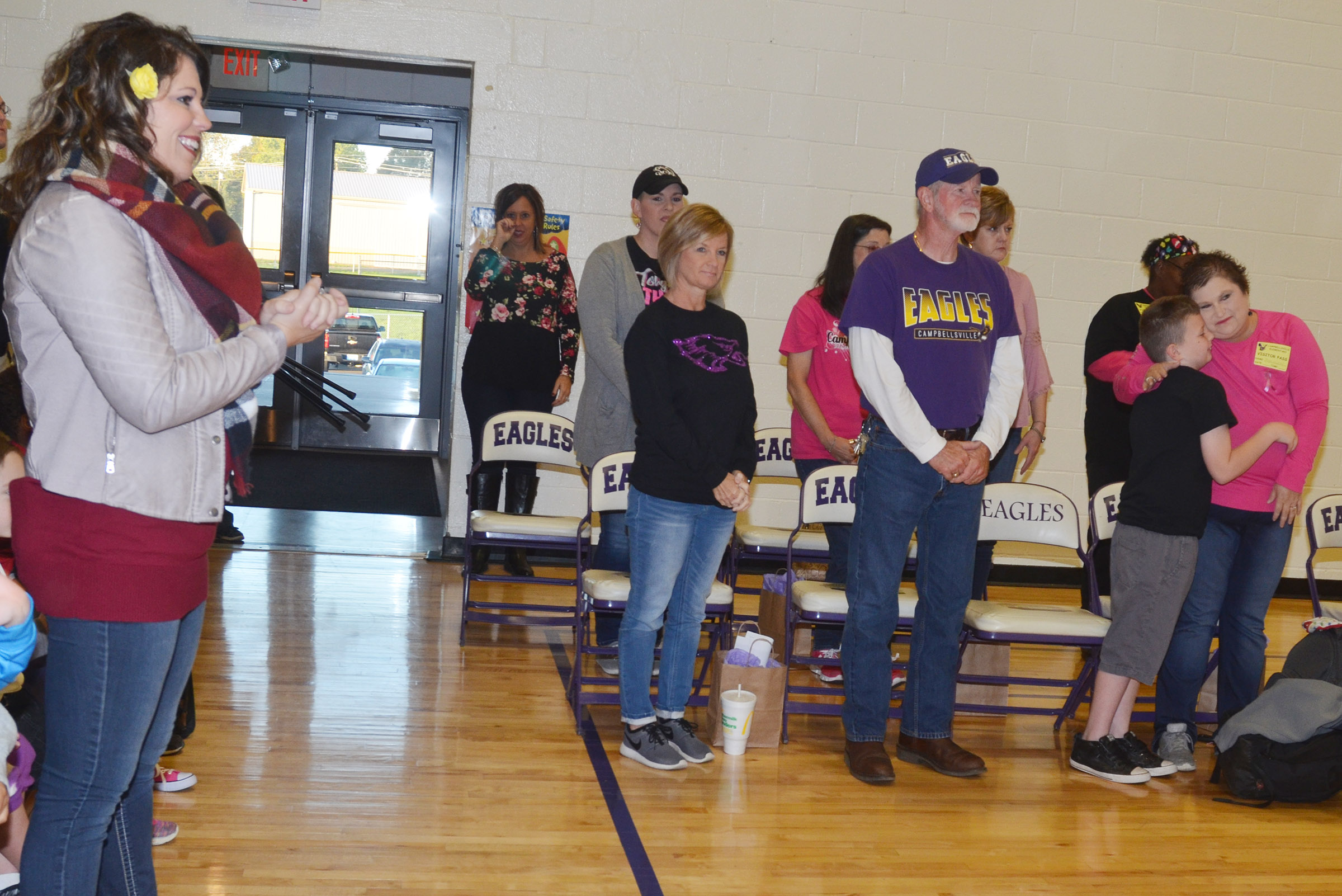 CES students honor Eagle family members who are cancer survivors.