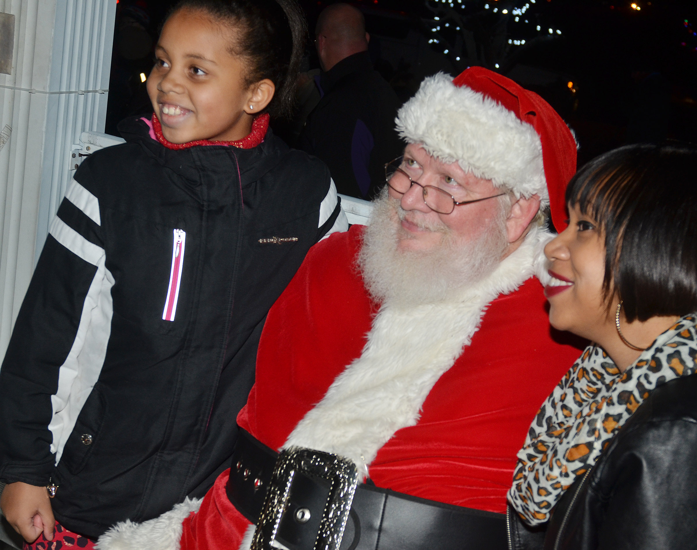 CES second-grader Journey Webb and her mother Joy Tobin pose for a photo with Santa.