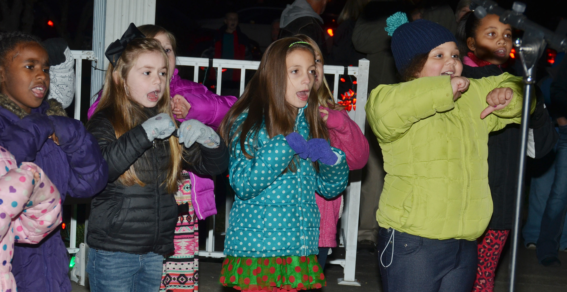 From left, CES second-graders Destini Gholston, Lainey Price, Lillian Martin and Amylah Taylor sing.
