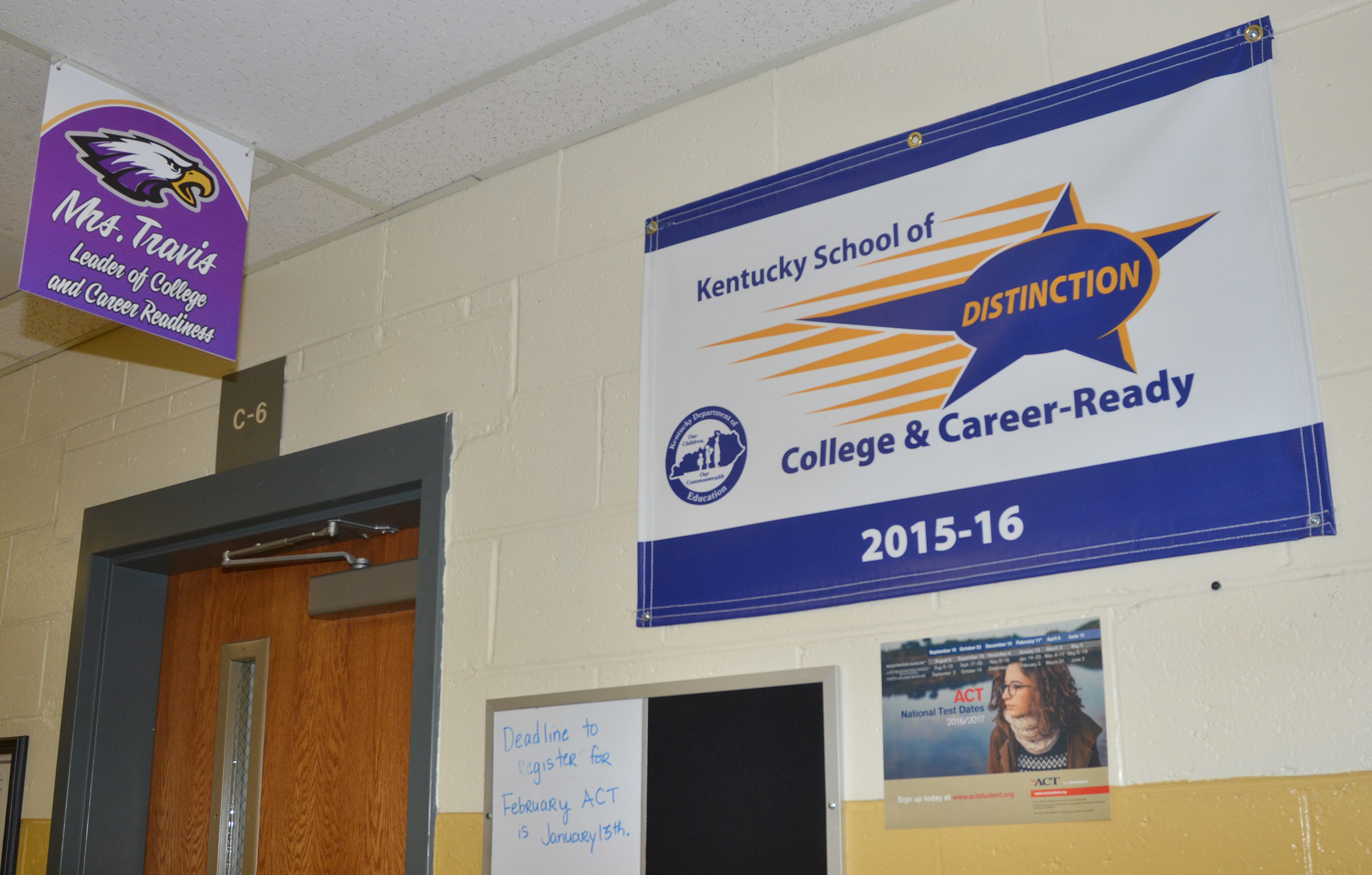 This School of Distinction banner hangs by the college and career readiness center at Campbellsville High School.